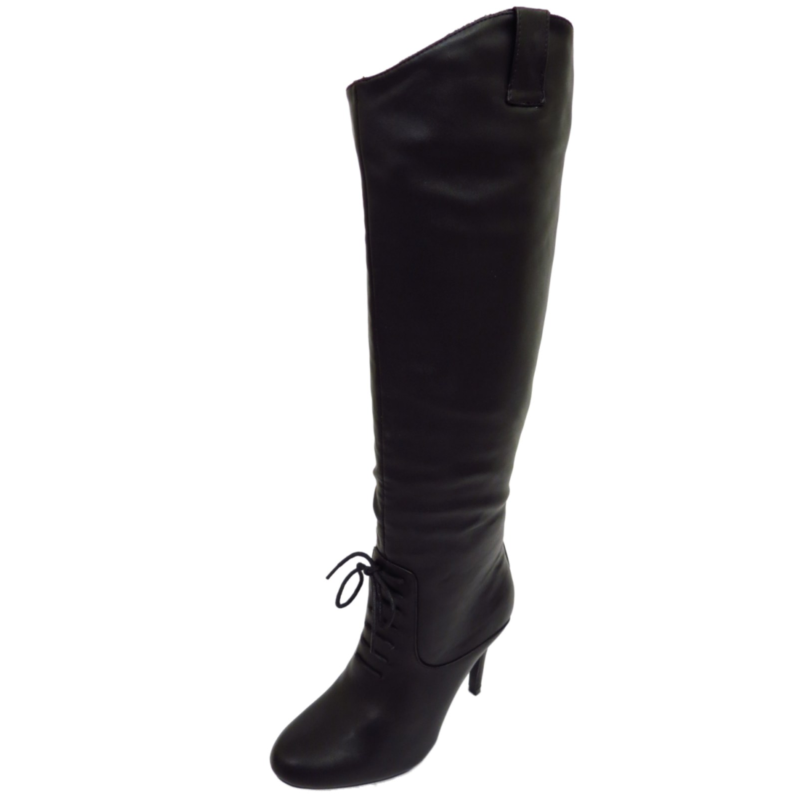Ladies Black Knee High Heel Tall Zip Up Calf Long
