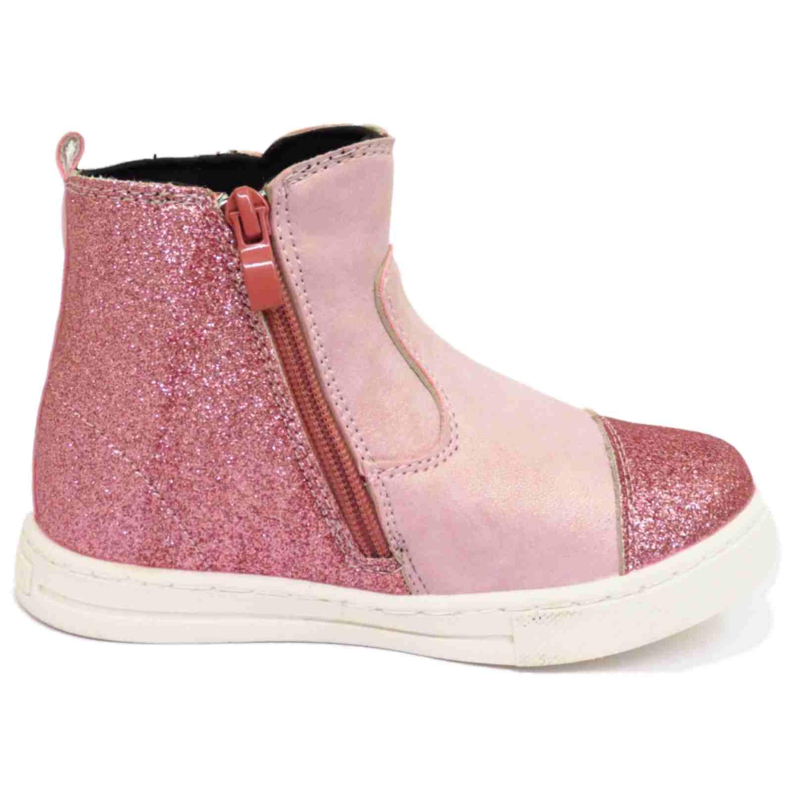 Filles-enfants-plat-rose-paillettes-zip-up-hiver-cheville-baskets-bottes-uk-8-12