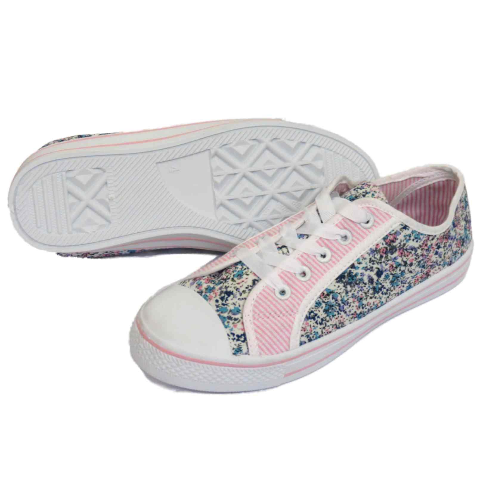 FEMMES TENNIS floral Baskets à lacets chaussures plates
