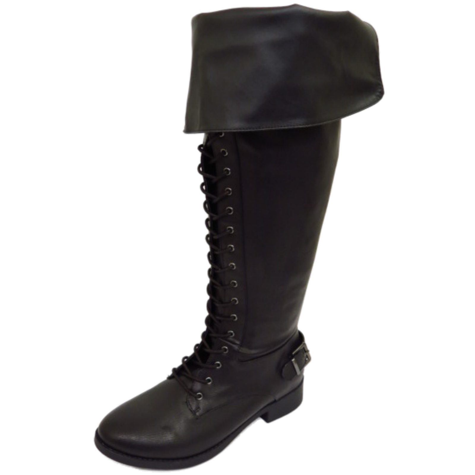 e290530c11c1e Details about WOMENS BLACK EXTRA WIDE CALF FIT LACE-UP BIKER KNEE-HIGH  RIDING TALL BOOTS 6-11