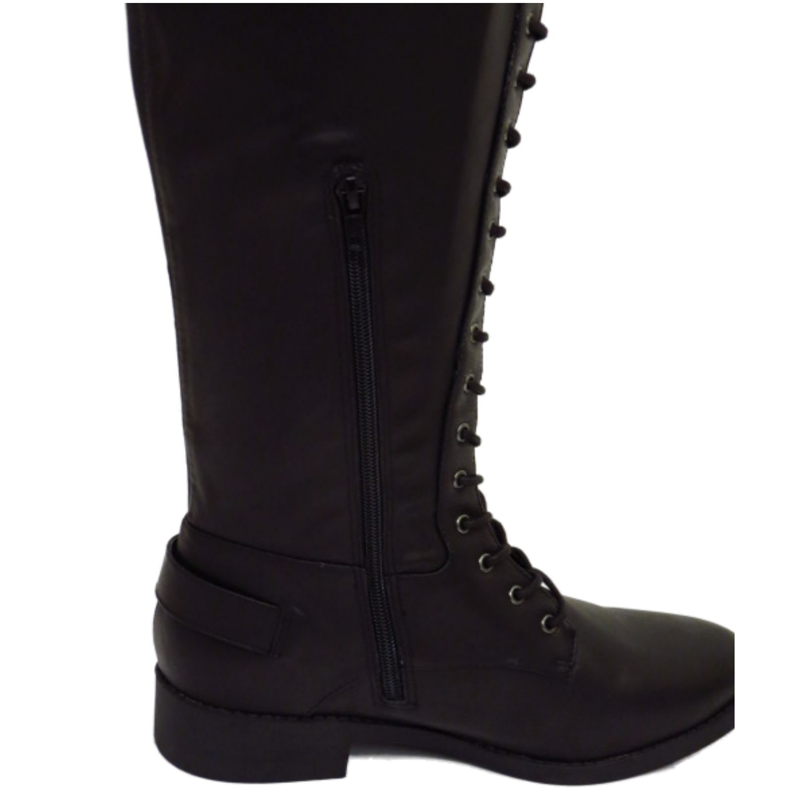 68f15bf9413 Sentinel WOMENS BLACK EXTRA WIDE CALF FIT LACE-UP BIKER KNEE-HIGH RIDING TALL  BOOTS