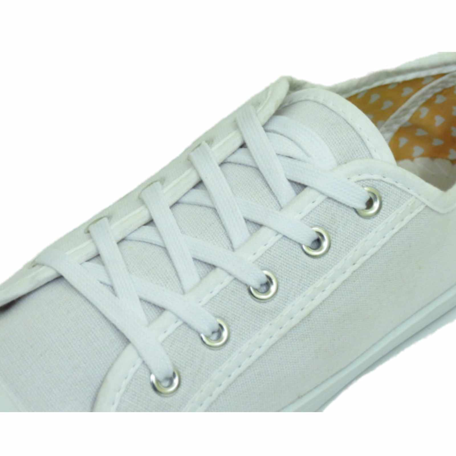 92f595d980b Sentinel LADIES WHITE CANVAS FLAT LACE-UP TRAINER PLIMSOLL PUMPS CASUAL  SHOES SIZES 3-9