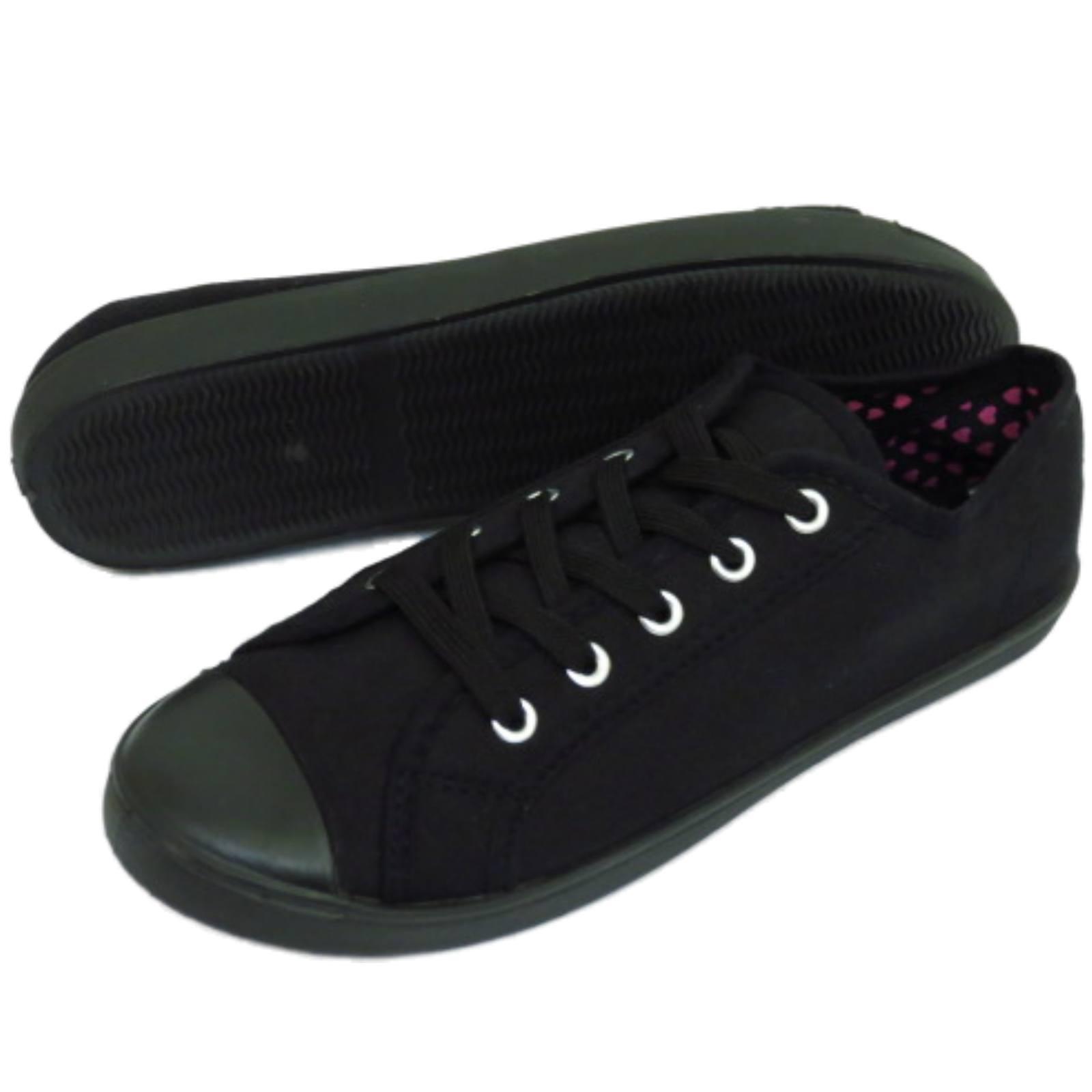 Señoras Negras De Lona Con Cordones Plana Informal Zapatos entrenador Playera bombas Tamaños 3-9