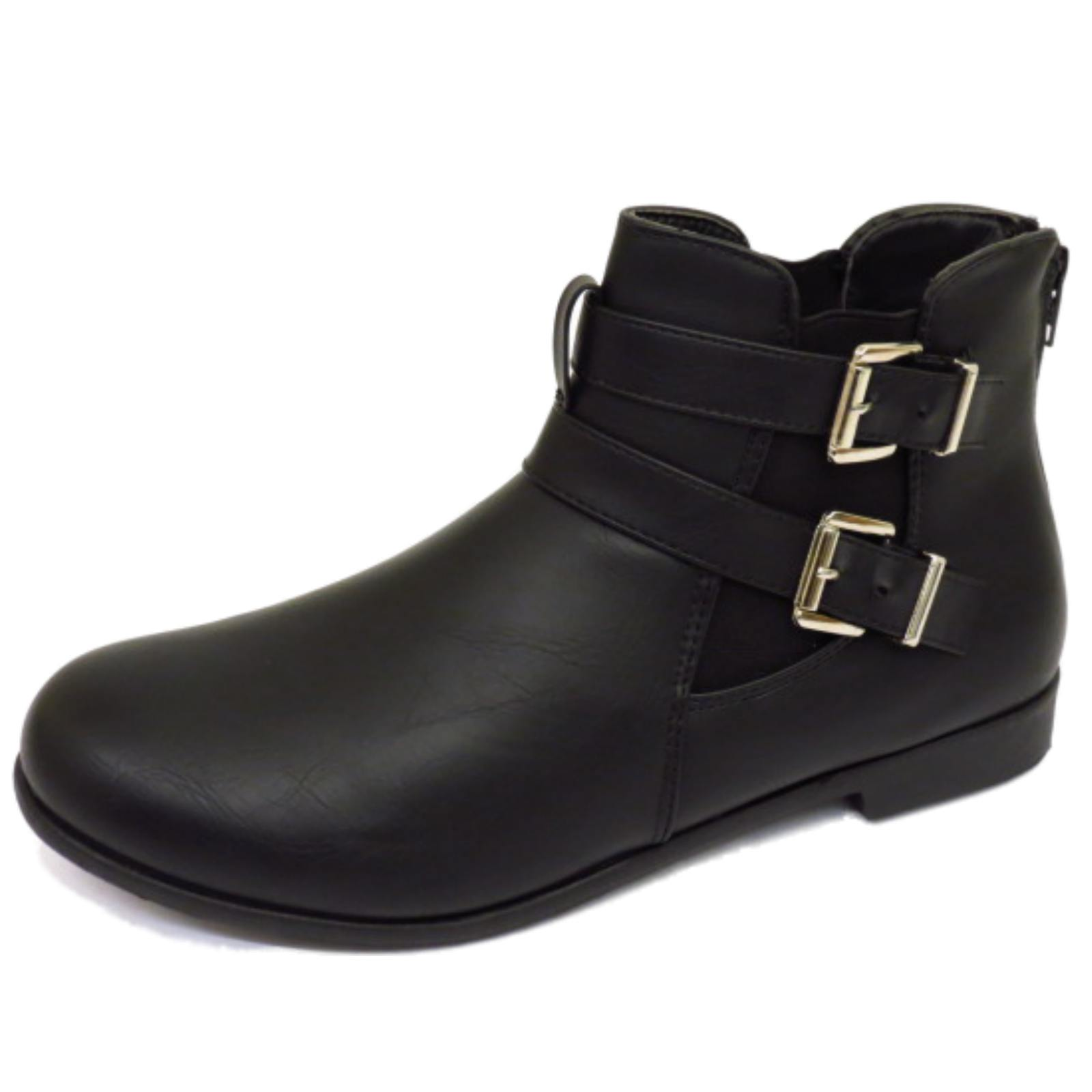 Details about WOMENS FLAT BLACK ZIP-UP CHELSEA BIKER SMART WORK COMFY ANKLE  BOOTS SHOES 3-9 0109199984