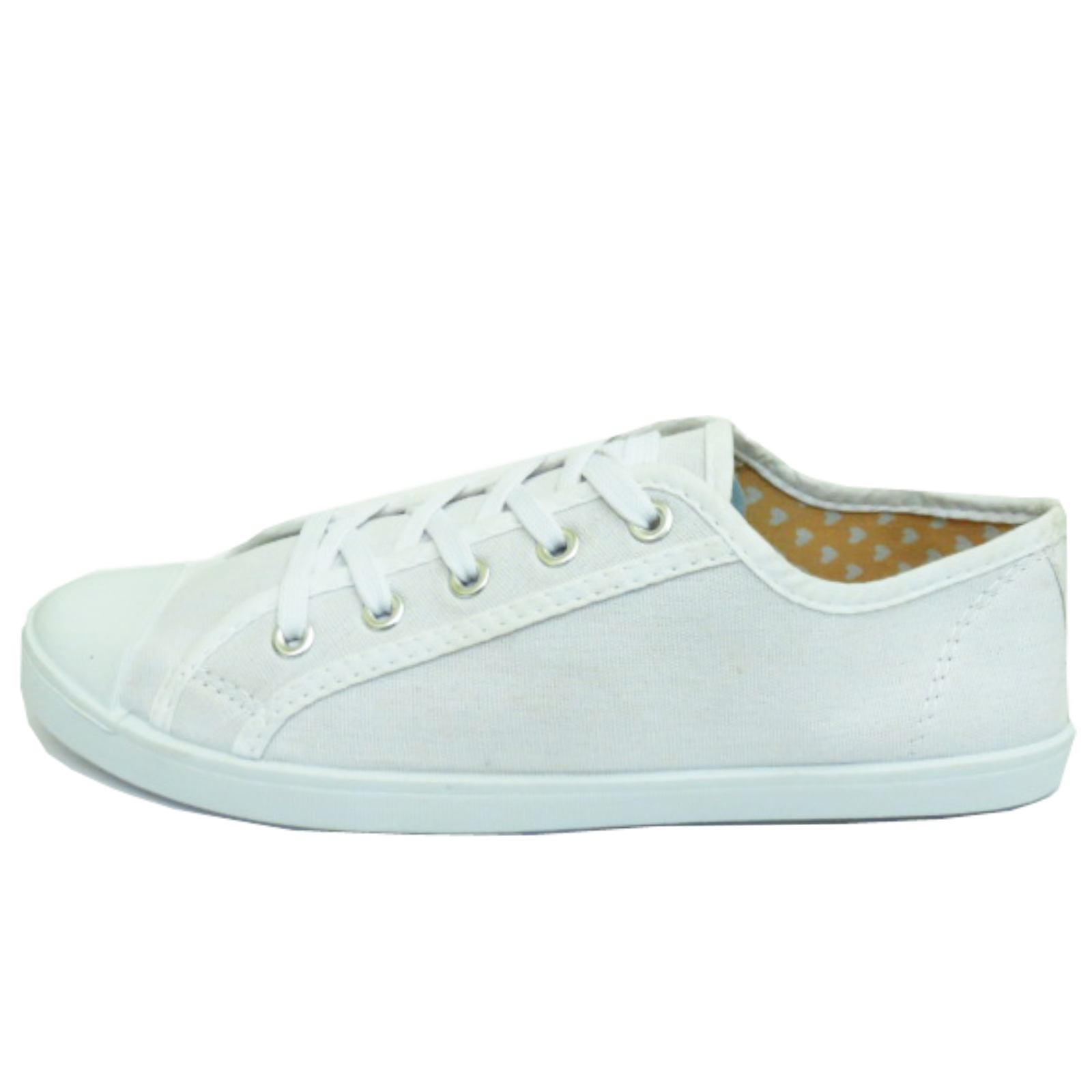 18e173aef36 Sentinel WOMENS WHITE TRAINER FLAT LACE-UP PLIMSOLL PUMPS CASUAL CANVAS  DANCE SHOES 3-9