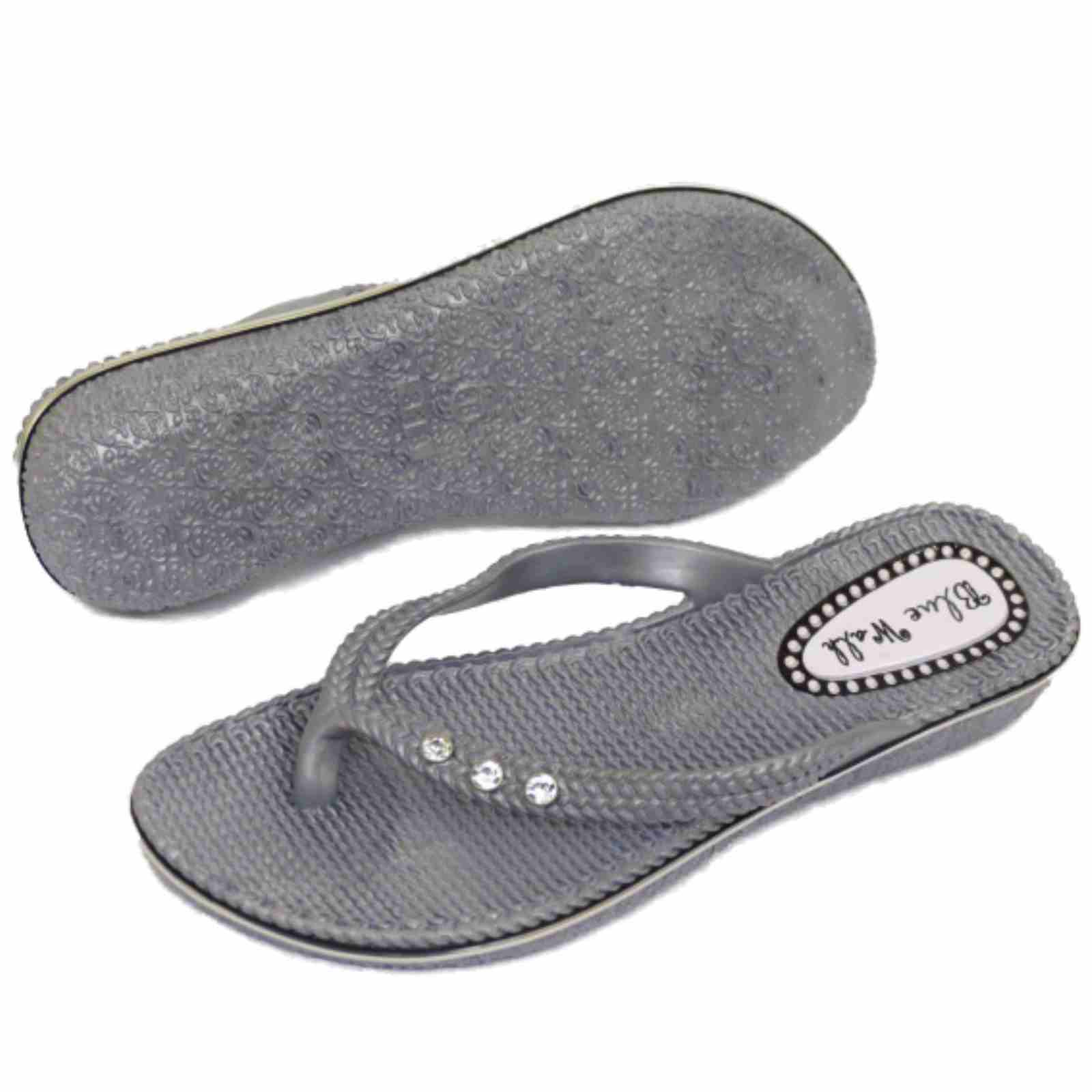 a673b07aead2 Sentinel WOMENS FLAT SILVER TOE-POST FLIP-FLOP BEACH SUMMER JELLY SHOES  SANDALS SIZES 3