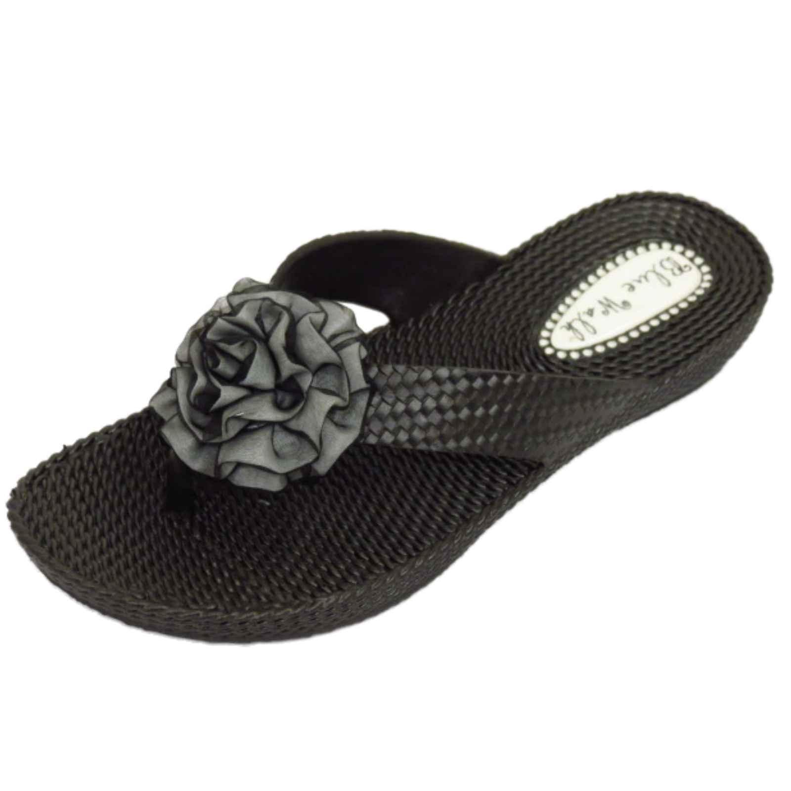 f33816b827d54 Details about WOMENS FLAT TOE-POST SANDALS BLACK FLIP-FLOP BEACH SLIP-ON  JELLY SHOES UK 3-8