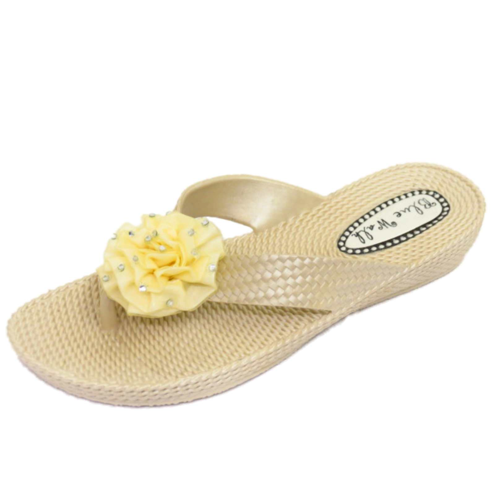 9ebf9a785db81 Details about WOMENS FLAT TOE-POST BEIGE SANDALS FLIP-FLOP BEACH SLIP-ON  JELLY SHOES SIZES 3-8