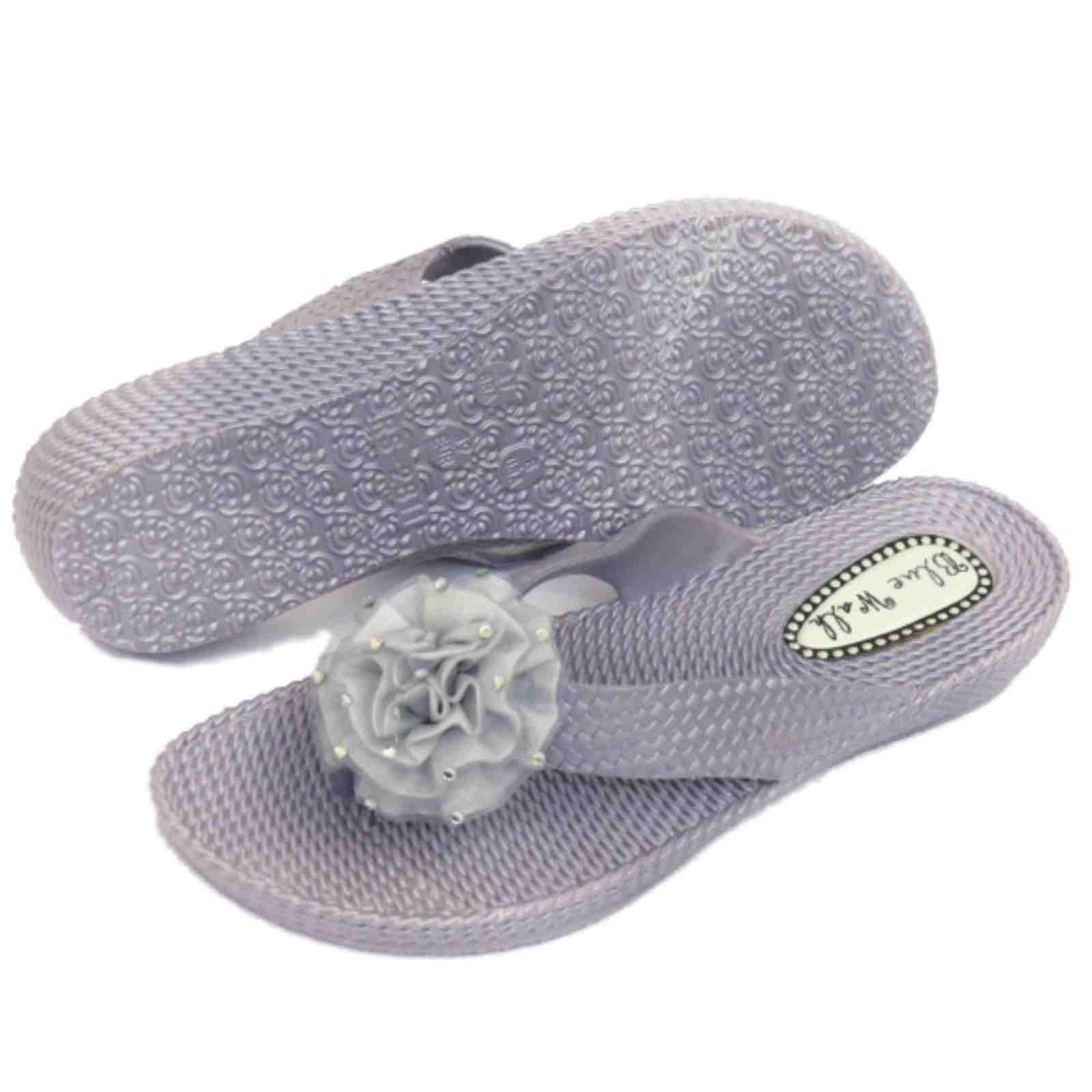 c29d6336bf085d Sentinel WOMENS FLAT TOE-POST SILVER SANDALS FLIP-FLOP BEACH SLIP-ON JELLY  SHOES