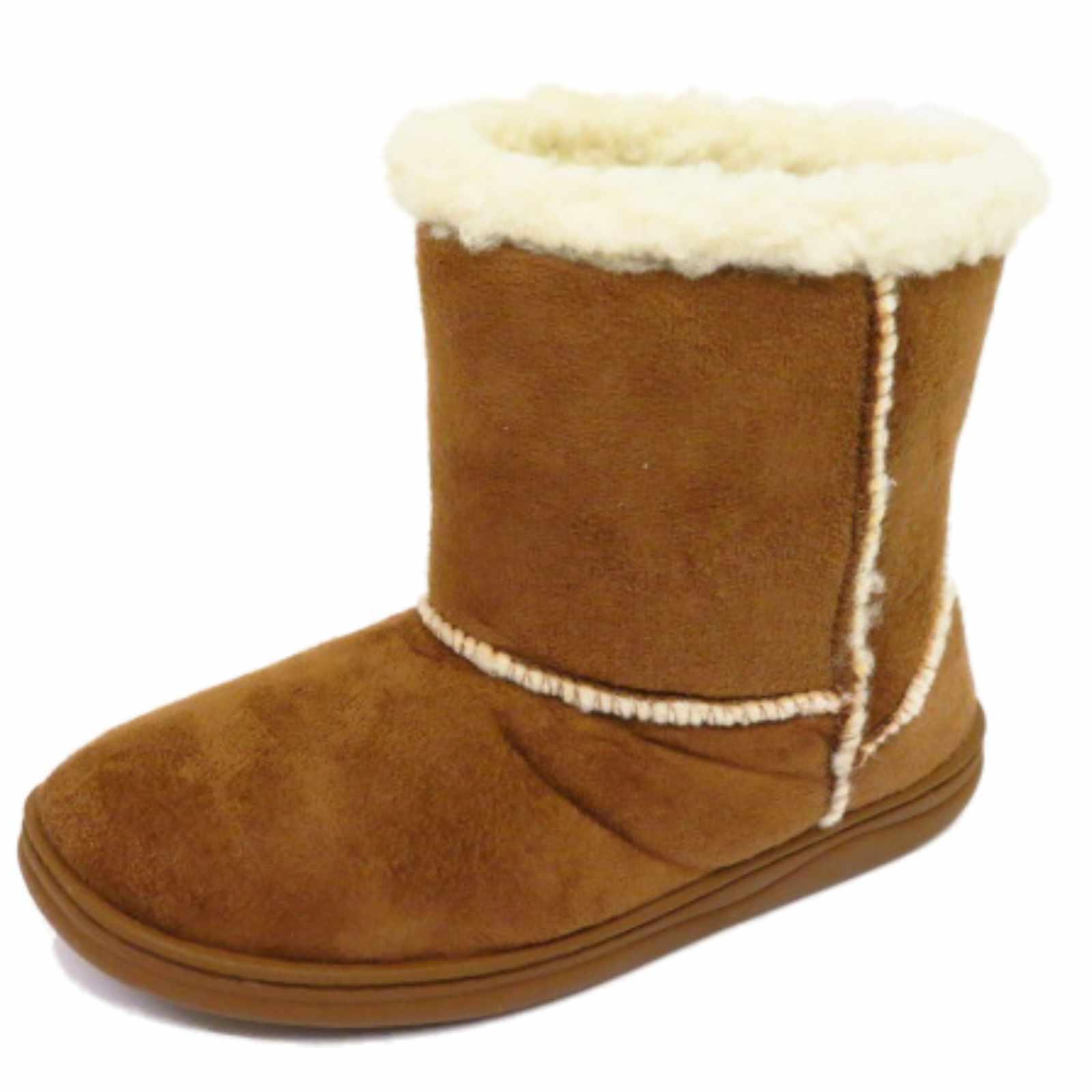 Childrens niñas tan Snugg Caliente De Invierno Botas Planas Tirar-en piel Zapatos de niños 10-2
