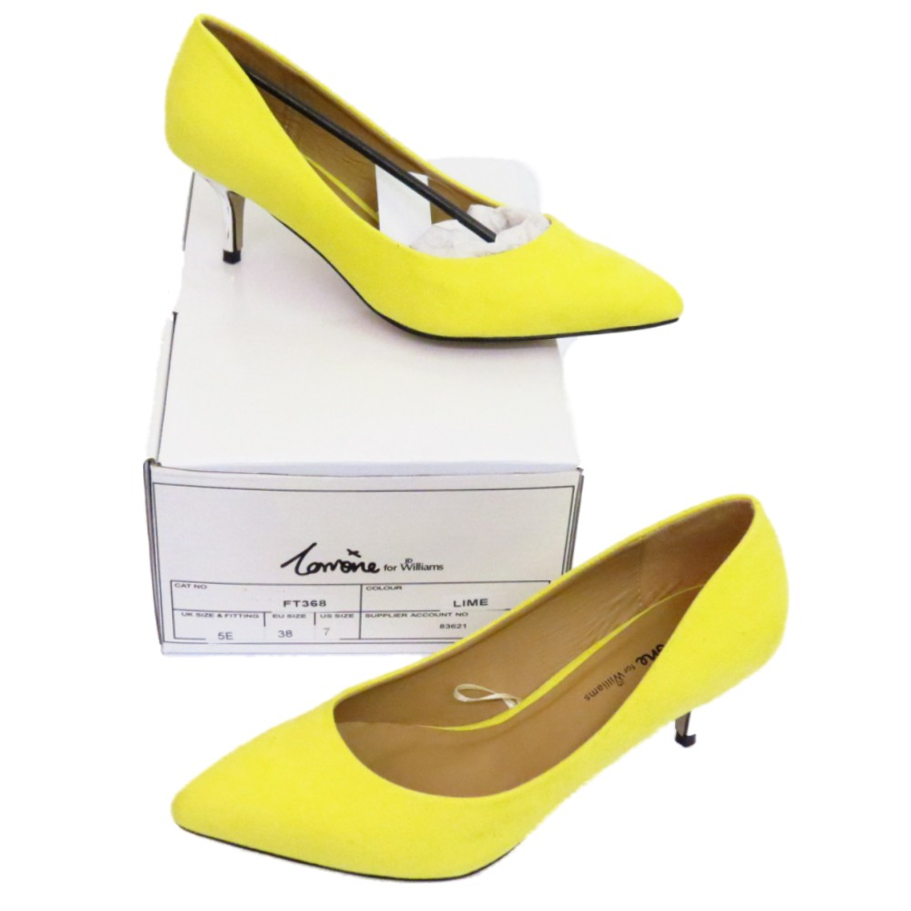 Sentinel WOMENS LIME YELLOW SLIP ON KITTEN HEEL COURT EVENING SHOES WORK PUMPS SIZES 4