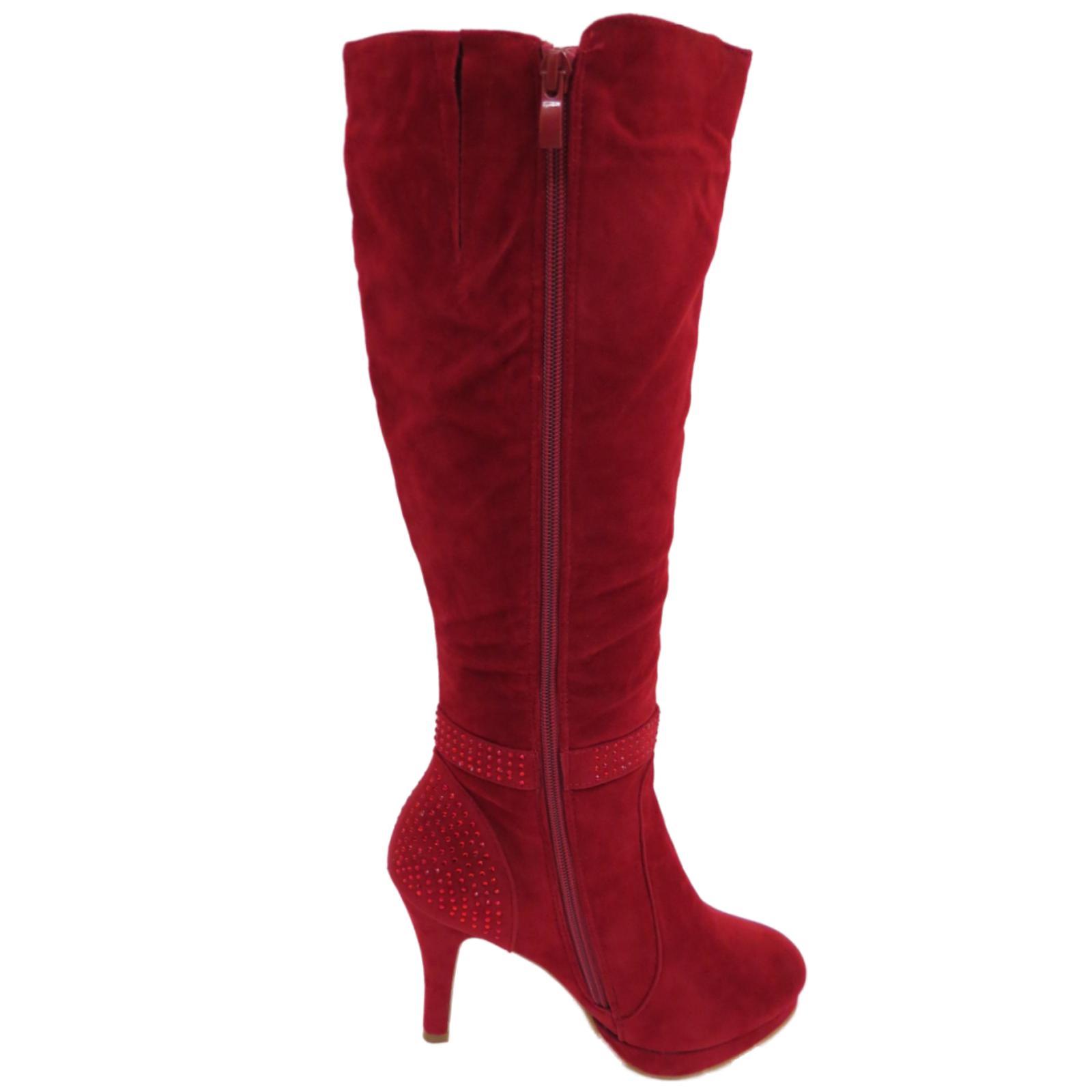 1a662f3f5c1 Sentinel WOMENS RED STILETTO HIGH HEEL KNEE-HIGH TALL ZIP PLATFORM BOOTS  SHOES UK 3-