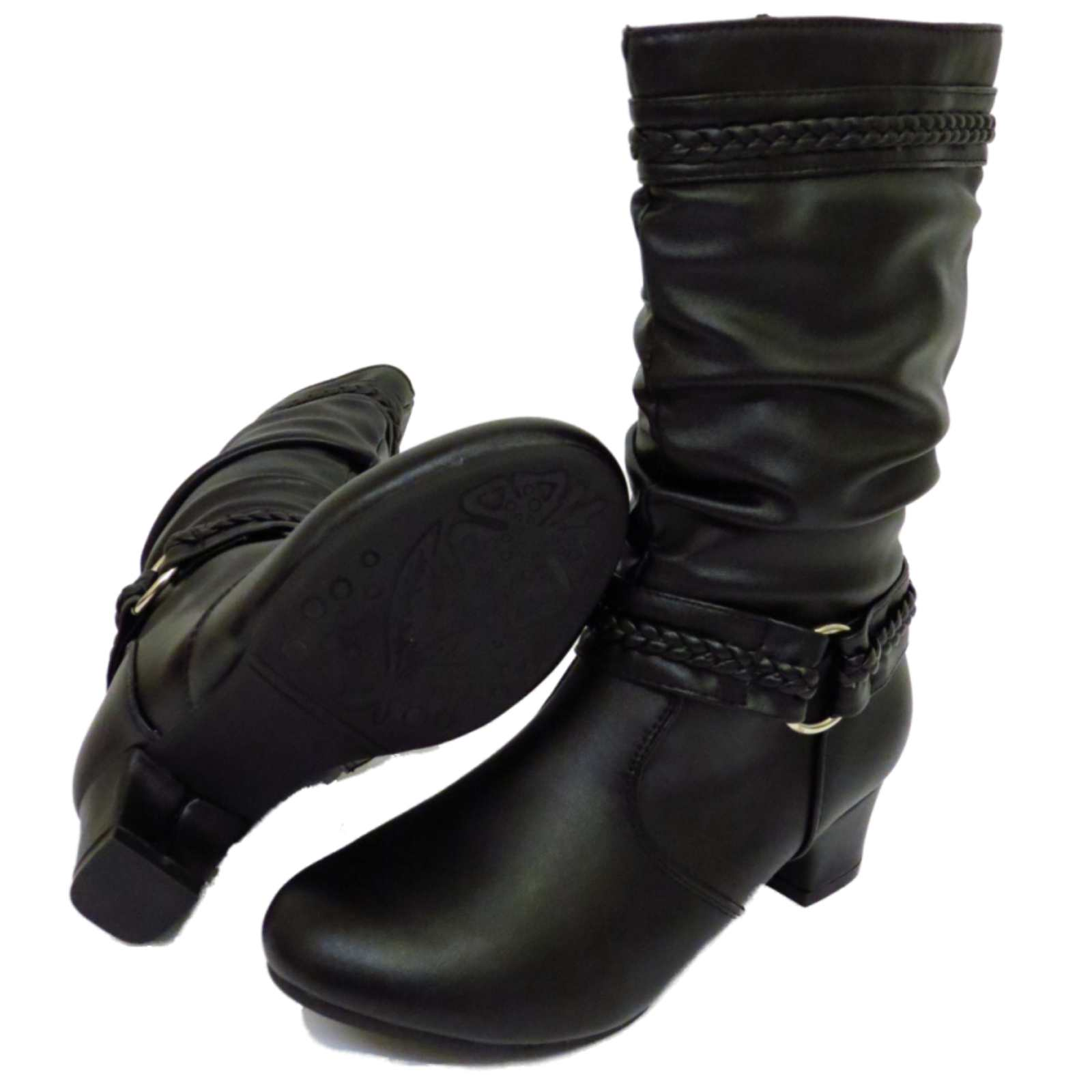 b5ce69e273d Sentinel GIRLS KIDS BLACK ZIP-UP KITTEN HEEL TALL RUCHED FASHION BOOTS  CHILDRENS SHOES 9-