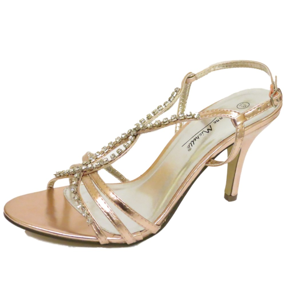 4b9892326 Sentinel WOMENS ROSE GOLD WEDDING BRIDE BRIDESMAID DIAMANTE SANDALS EVENING SHOES  3-8