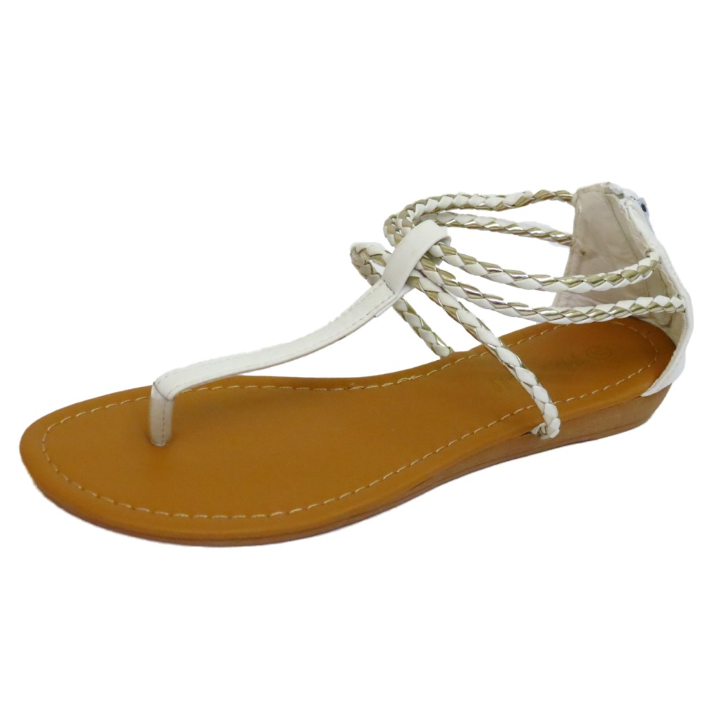 1800ac49506cc6 Sentinel WOMENS WHITE TOE-POST FLAT GLADIATOR SANDALS FLIP-FLOP SHOES  SUMMER PUMPS 3-