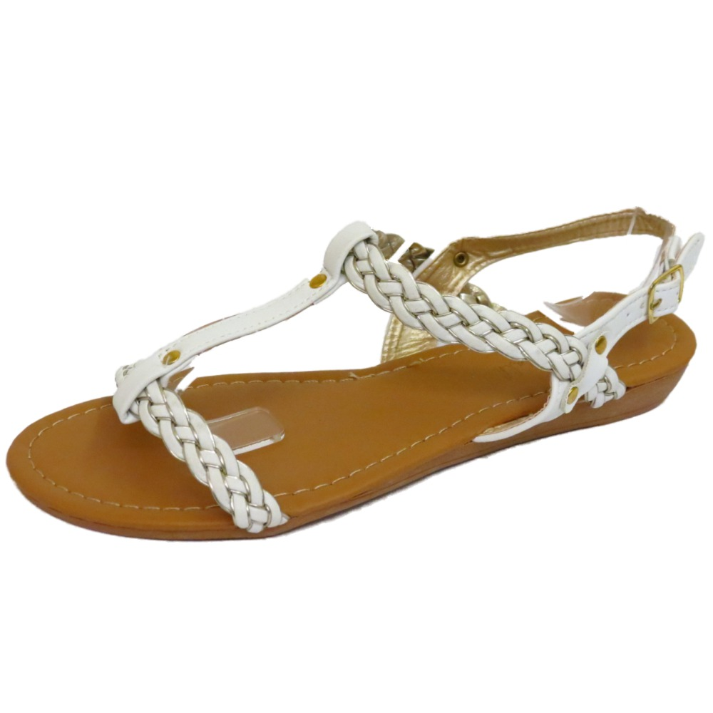 61ee8d892001e Sentinel WOMENS FLAT WHITE SANDALS FLIP-FLOP T-BAR SUMMER BEACH HOLIDAY  COMFY SHOES 3