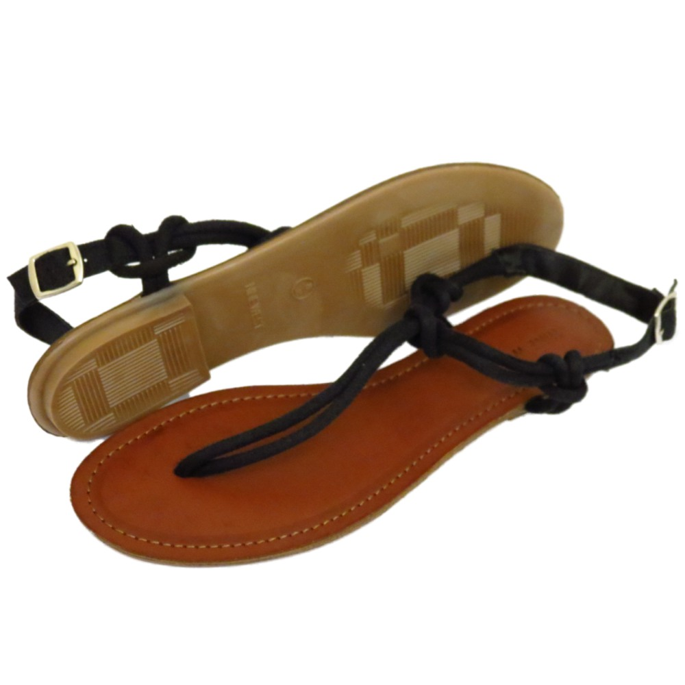 44fe10abcac15 Sentinel WOMENS BLACK T-BAR THONG FLAT SANDALS FLIP-FLOP STRAPPY SUMMER  HOLIDAY UK 4