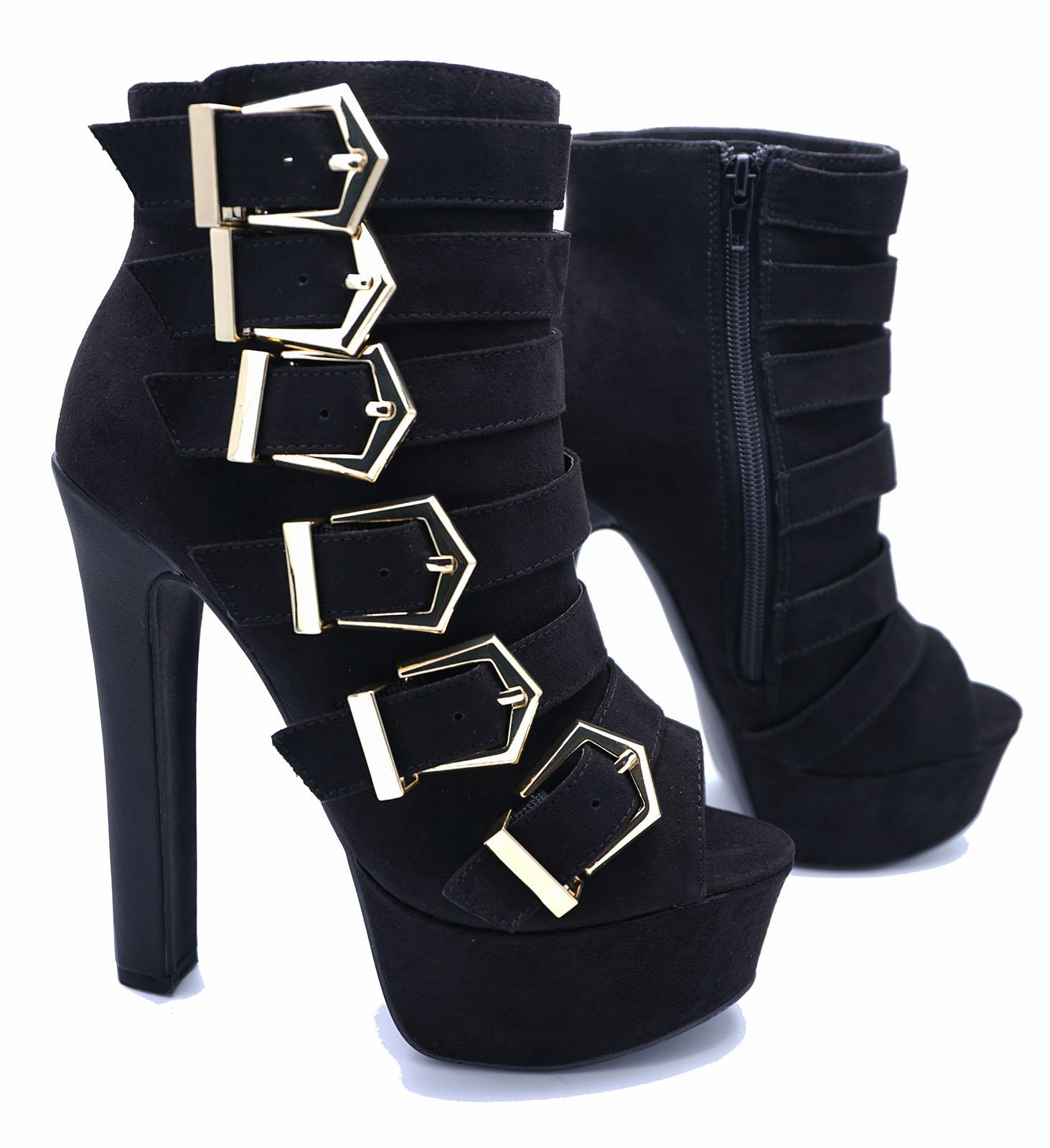 LADIES-BLACK-ZIP-UP-PLATFORM-PEEP-TOE-BUCKLE-ANKLE-CALF-HIGH-HEEL-BOOTS-SIZES-3 thumbnail 42