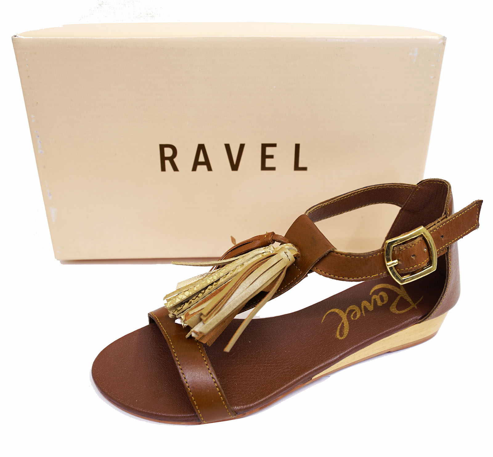 LADIES-RAVEL-ASTORIA-FLAT-LEATHER-TAN-SANDALS-SLIP-ON-T-BAR-STRAPPY-SHOES-UK-3-8 thumbnail 7