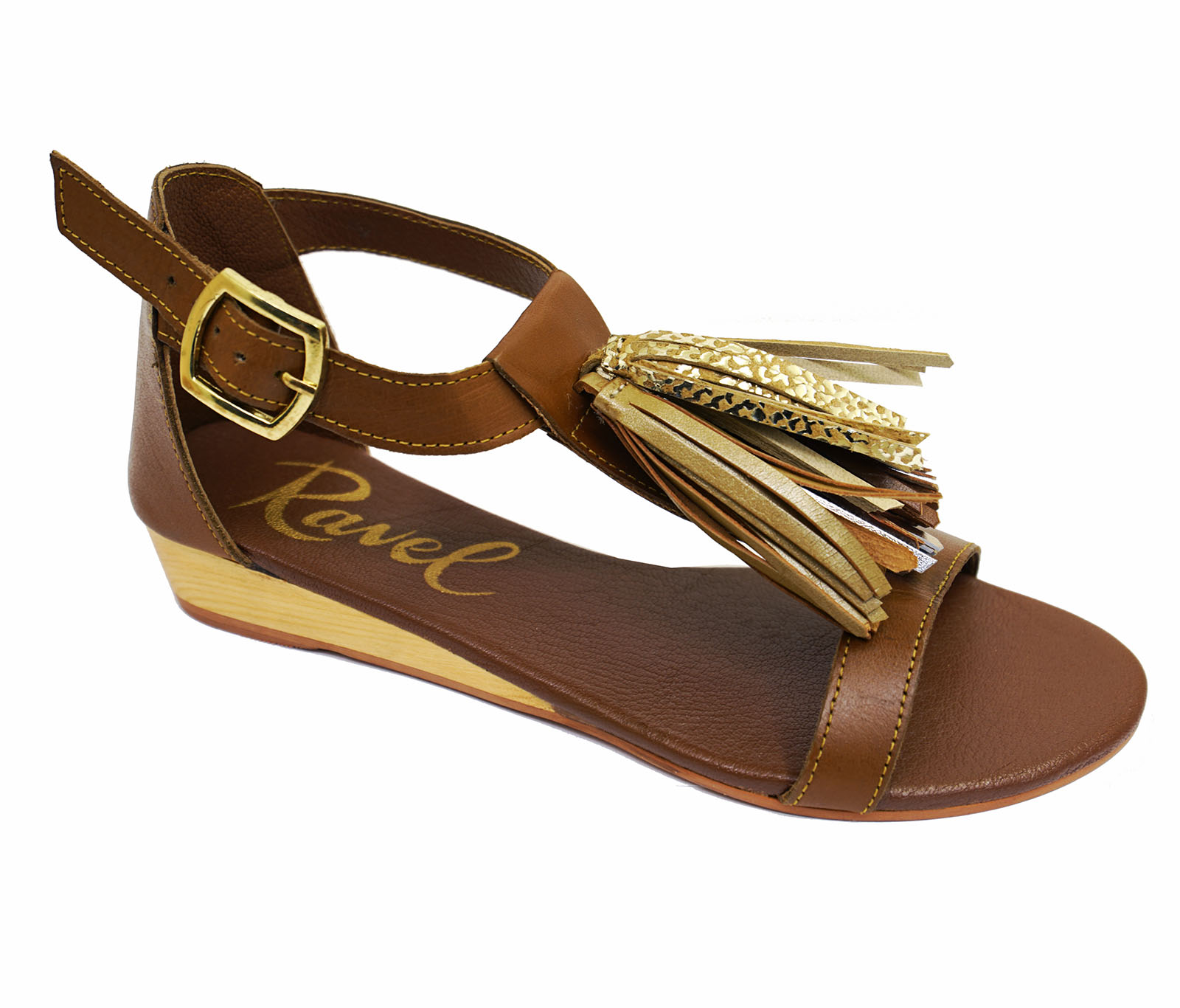 LADIES-RAVEL-ASTORIA-FLAT-LEATHER-TAN-SANDALS-SLIP-ON-T-BAR-STRAPPY-SHOES-UK-3-8 thumbnail 8