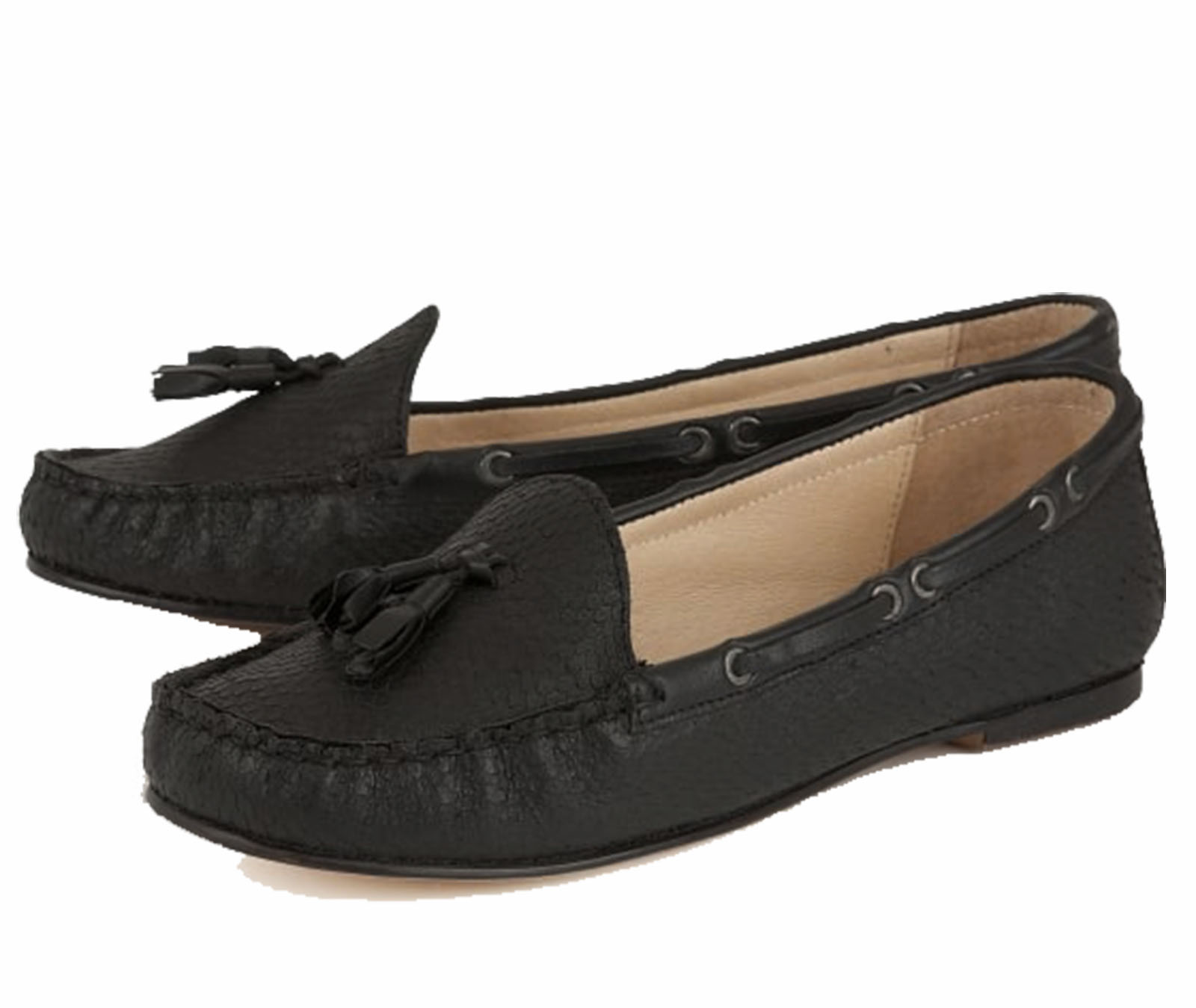 5590c12b6e2 Sentinel LADIES RAVEL ELOY FLAT LEATHER BLACK SLIP-ON MOCCASIN LOAFERS SHOES  SIZES 3-8