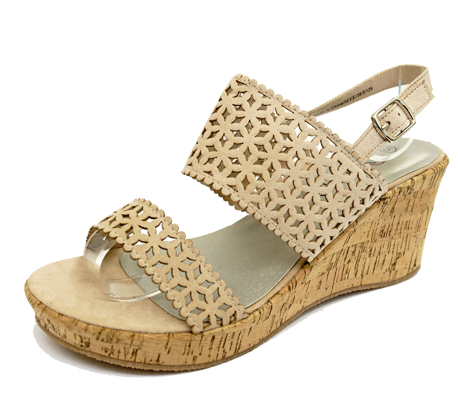 6a1566a7bc9 Details about LADIES BEIGE WIDE-FIT EEE WEDGES SUMMER PEEP-TOE STRAPPY  SANDALS SHOES UK 4-10