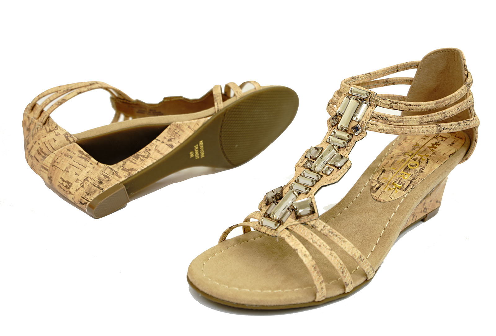 67b374557b792 Sentinel LADIES CORK WEDGES GLADIATOR COMFY ELASTIC OPEN-TOE STRAPPY  SANDALS SHOES 4-9