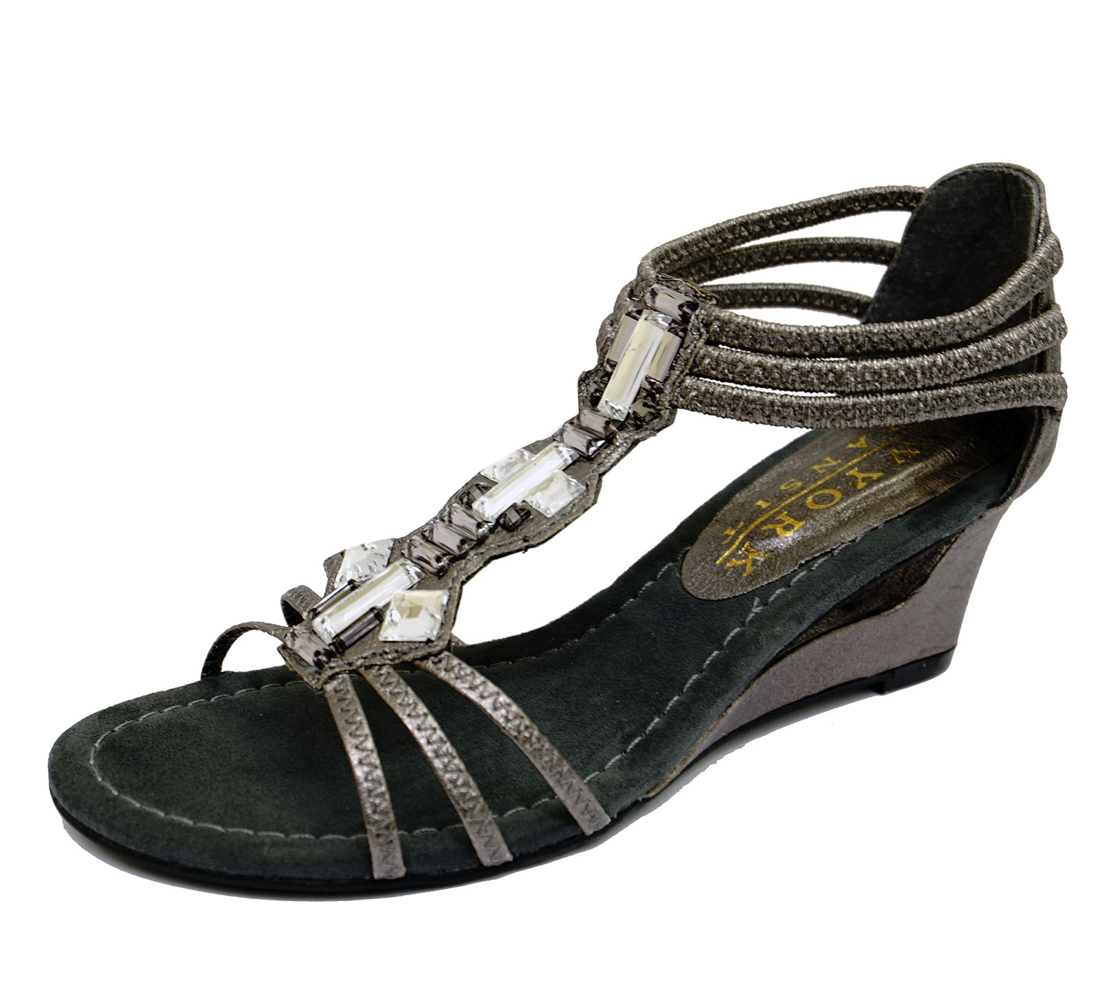 94dc399ff79f Sentinel ladies pewter wedges gladiator comfy elastic open toe strappy  sandals shoes jpg 1600x1433 Pewter wedges