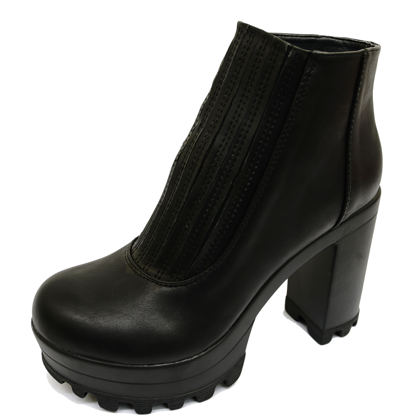 48f3f34c6e66 Ladies Black Chunky Pull-on Ankle Biker Calf Platform Stretch BOOTS ...