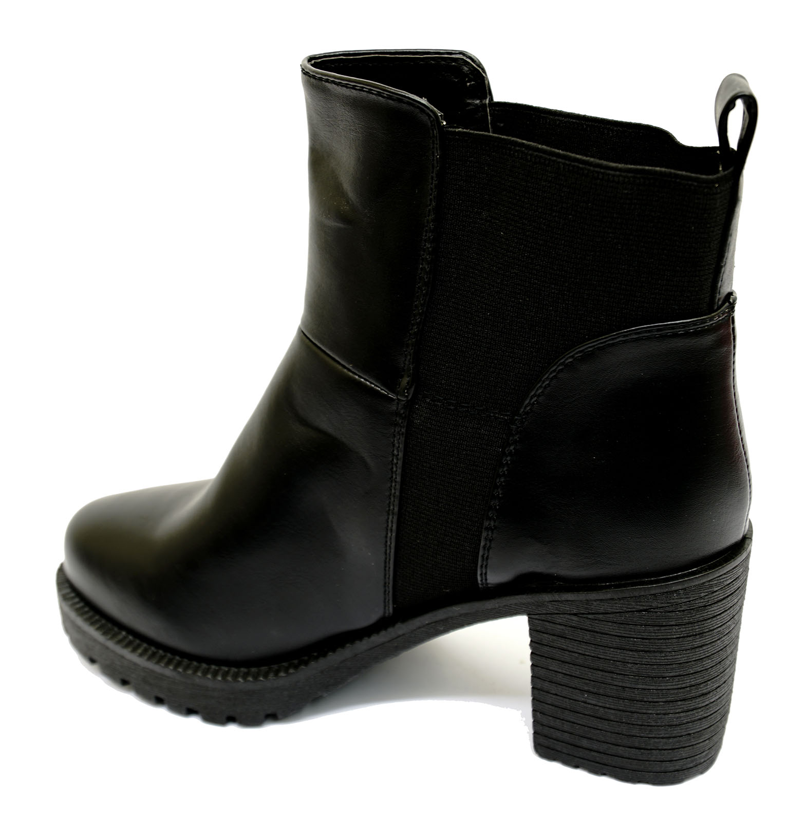 fd3b38fea08d Sentinel LADIES BLACK PULL-ON ANKLE BIKER CALF PLATFORM STRETCH CHUNKY  BOOTS SHOES 3-8
