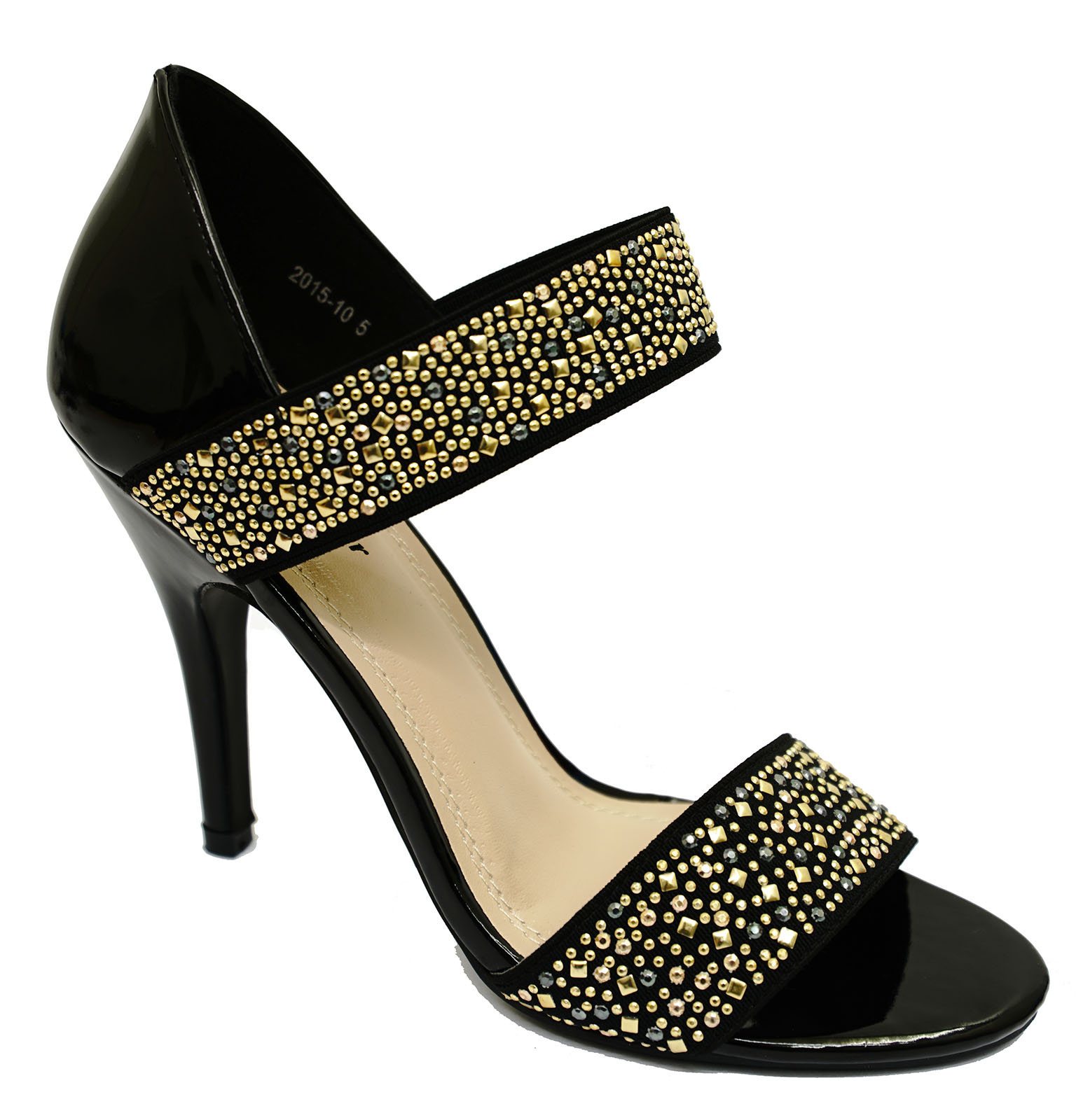 fea497833cb271 Details about WOMENS BLACK GOLD STILETTO SLIP-ON ELEGANT SANDALS EVENING  PROM SHOES SIZES 3-8