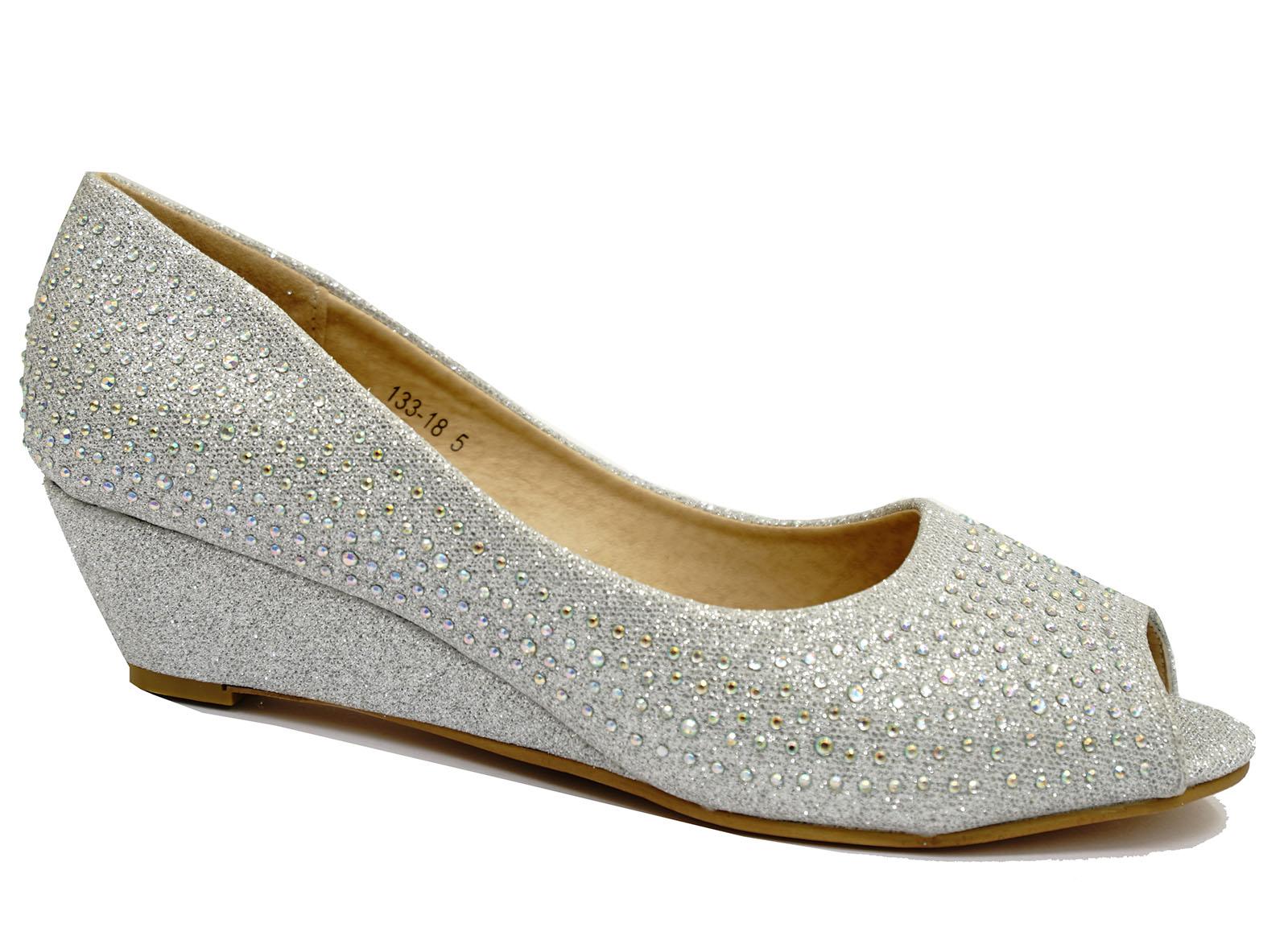 Wedge Heel Shoes For Wedding: WOMENS SILVER OPEN-TOE KITTEN-HEEL DIAMANTE LOW WEDGE