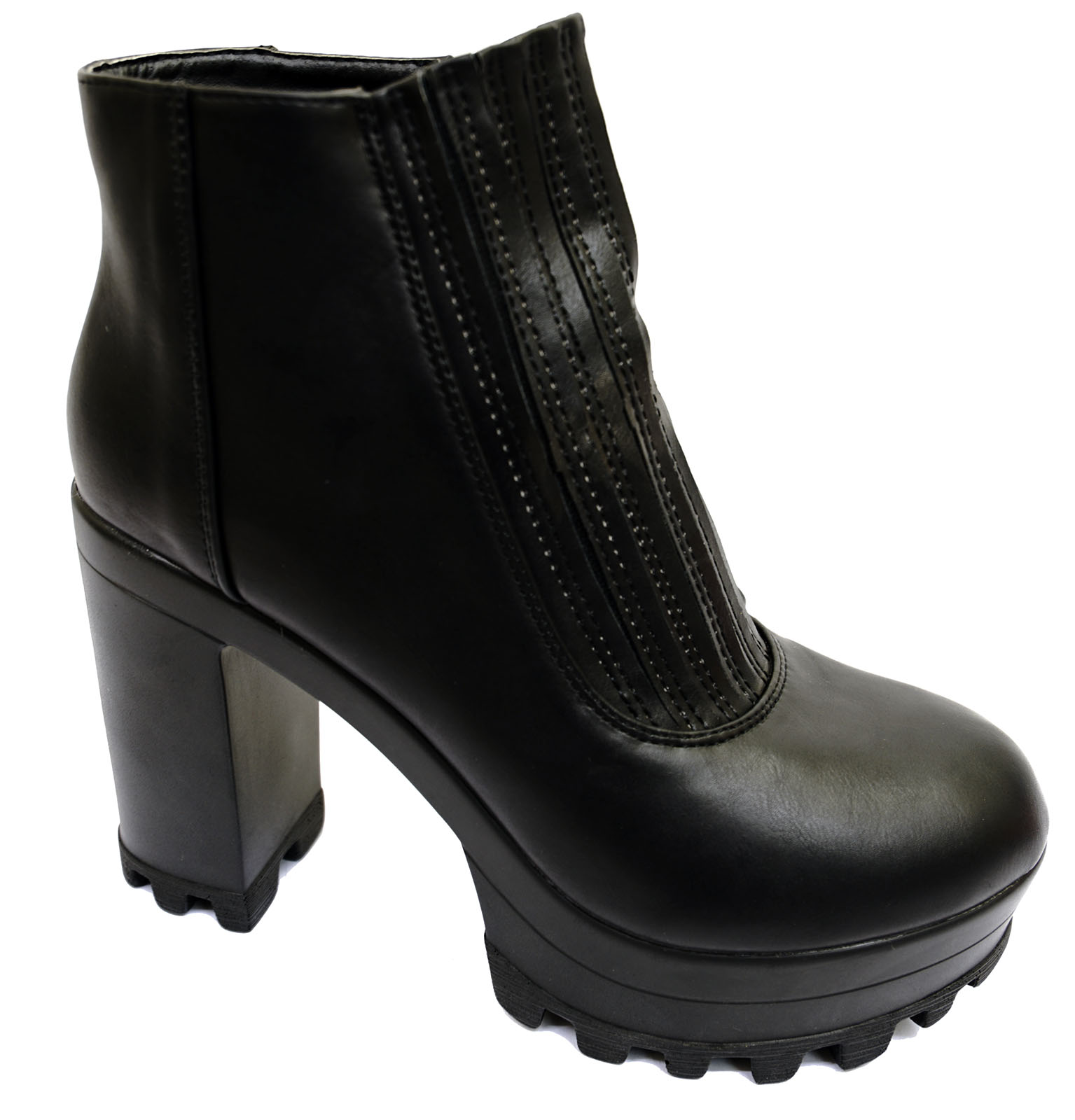 104fd0219903 Sentinel WOMENS BLACK ELASTIC PANEL PULL-ON ANKLE BIKER CALF CHUNKY BOOTS  SHOES SIZES 3-