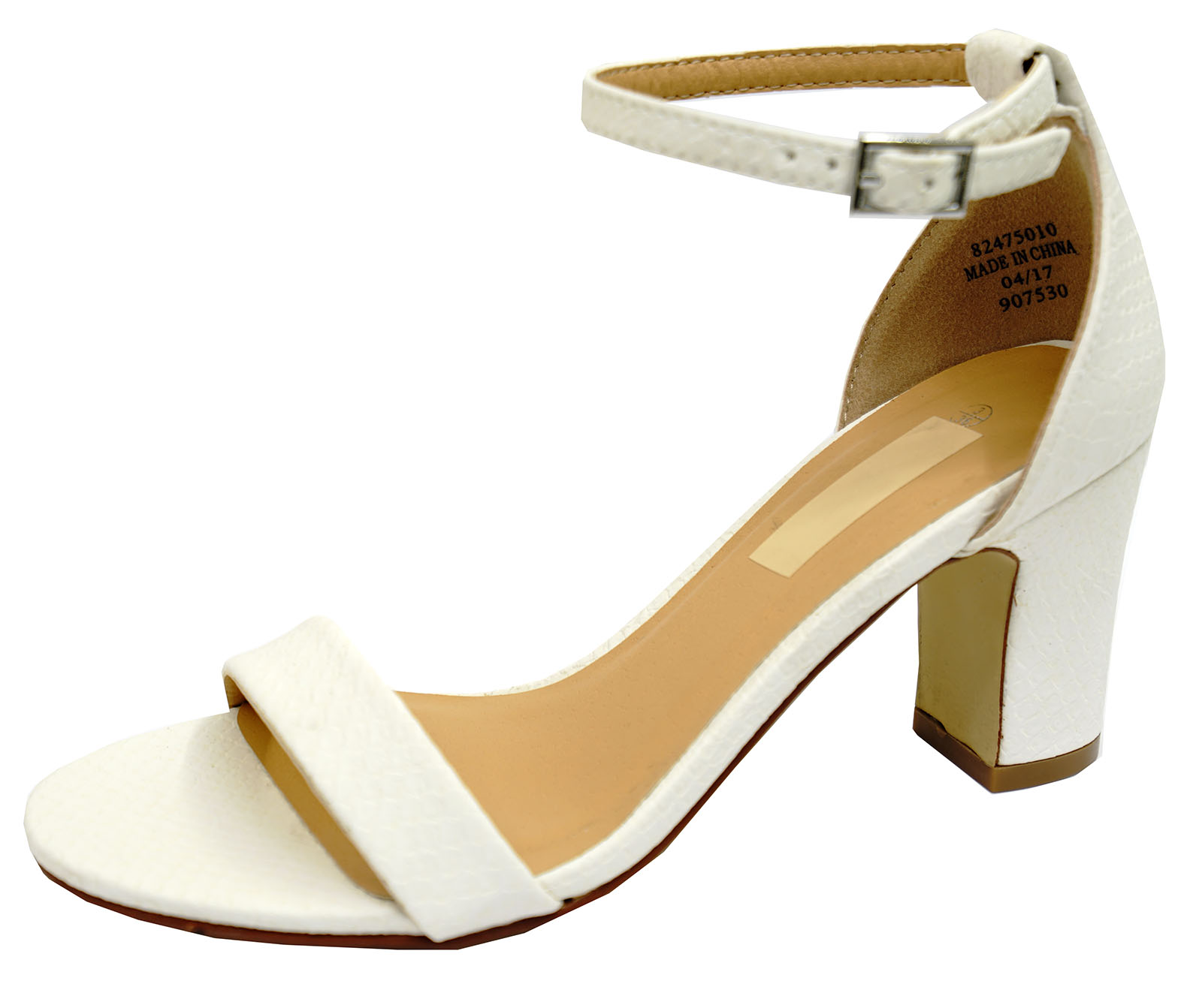 LADIES-WHITE-ANKLE-STRAP-BLOCK-HEEL-PEEPTOE-SANDALS-HOLIDAY-COMFY-SHOES-UK-3-8 thumbnail 5