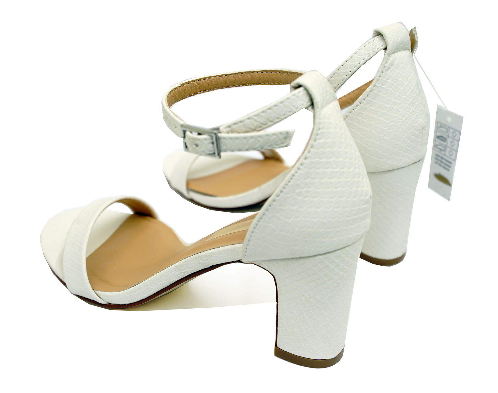 LADIES-WHITE-ANKLE-STRAP-BLOCK-HEEL-PEEPTOE-SANDALS-HOLIDAY-COMFY-SHOES-UK-3-8 thumbnail 8