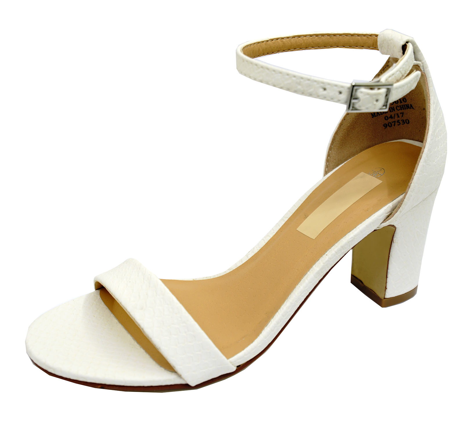 LADIES-WHITE-ANKLE-STRAP-BLOCK-HEEL-PEEPTOE-SANDALS-HOLIDAY-COMFY-SHOES-UK-3-8 thumbnail 14