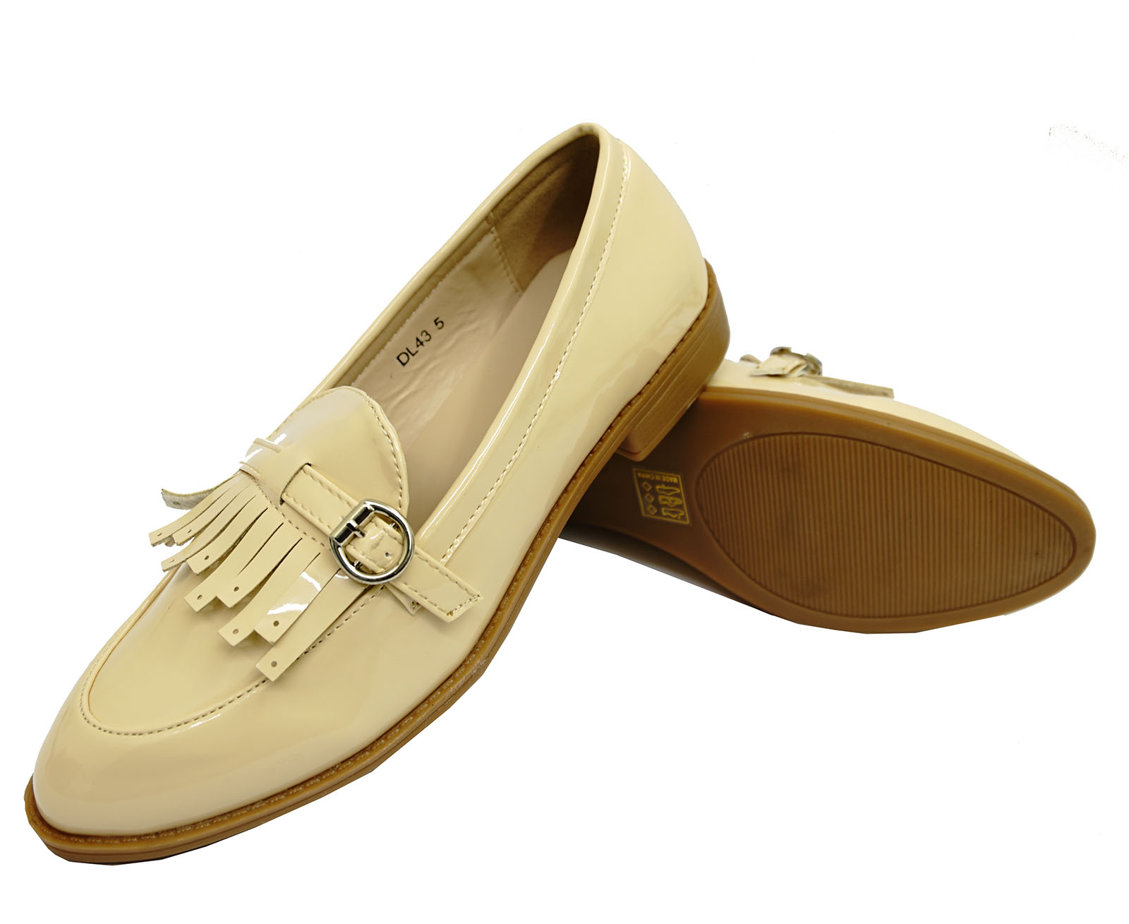 2cef0f21435 LADIES BEIGE SLIP-ON LOAFERS MOCCASIN CASUAL SMART WORK COMFY FLAT ...
