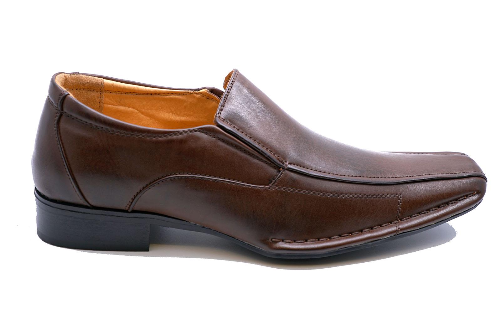 Para-Hombre-Marron-Oscuro-Sin-Cordones-Mocasines-Zapatos-Informales-inteligente-de-boda-de-Trabajo
