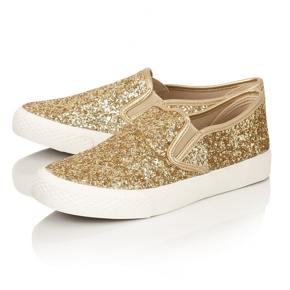 Details about LADIES DOLCIS MILLIE GOLD GLITTER FLAT CANVAS CASUAL SKATER  PLIMSOLL PUMPS SHOES 488a49020f61
