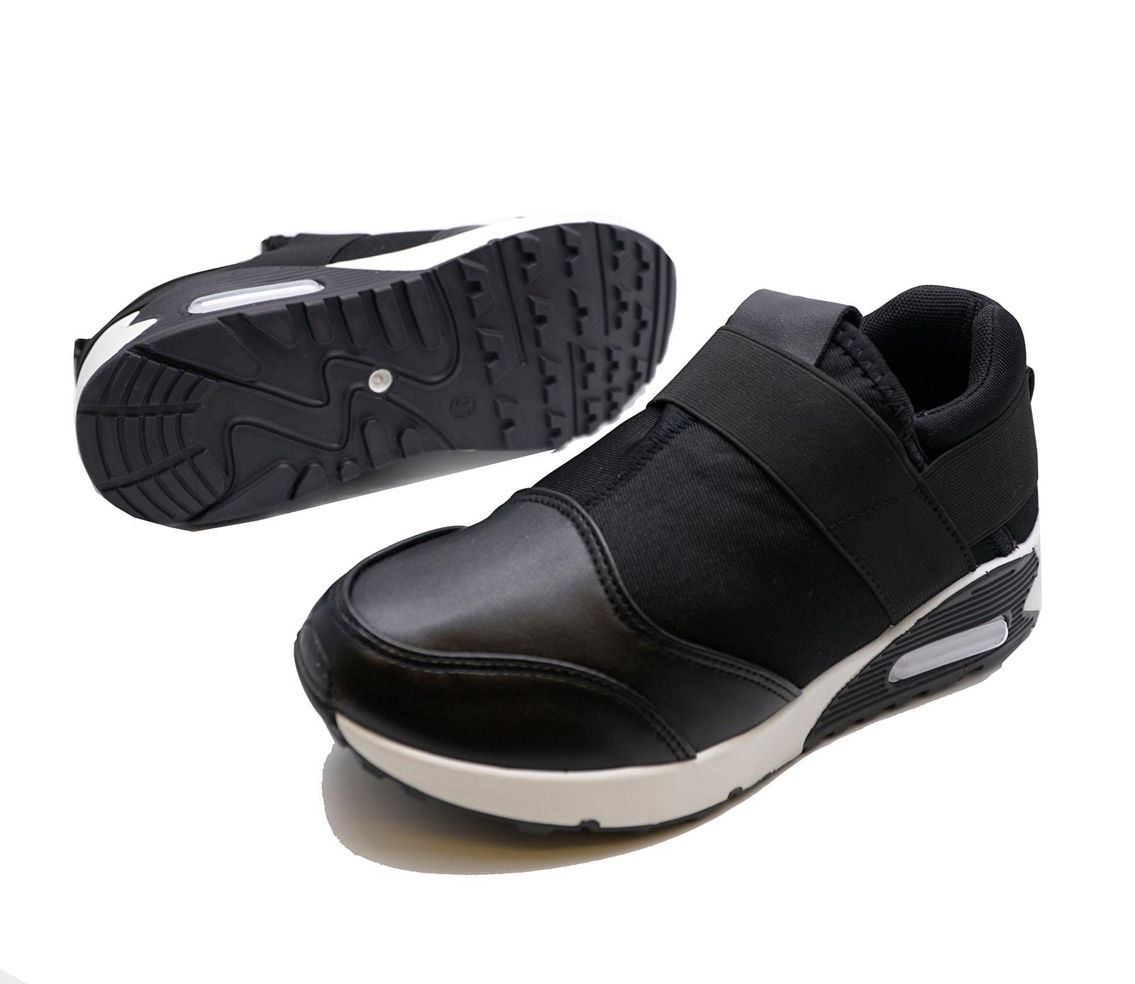 Señoras Negras Sin Cordones Correr Zapatillas Gimnasio Bombas Zapatos para Caminar Plimsolls UK 3-8
