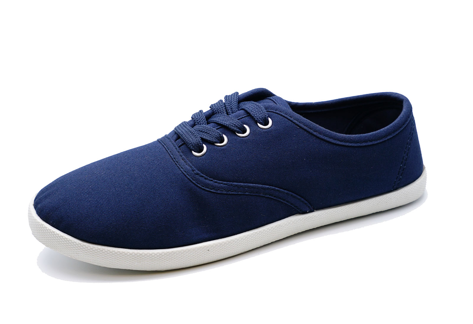 LADIES NAVY LACE-UP CANVAS FLAT TRAINER