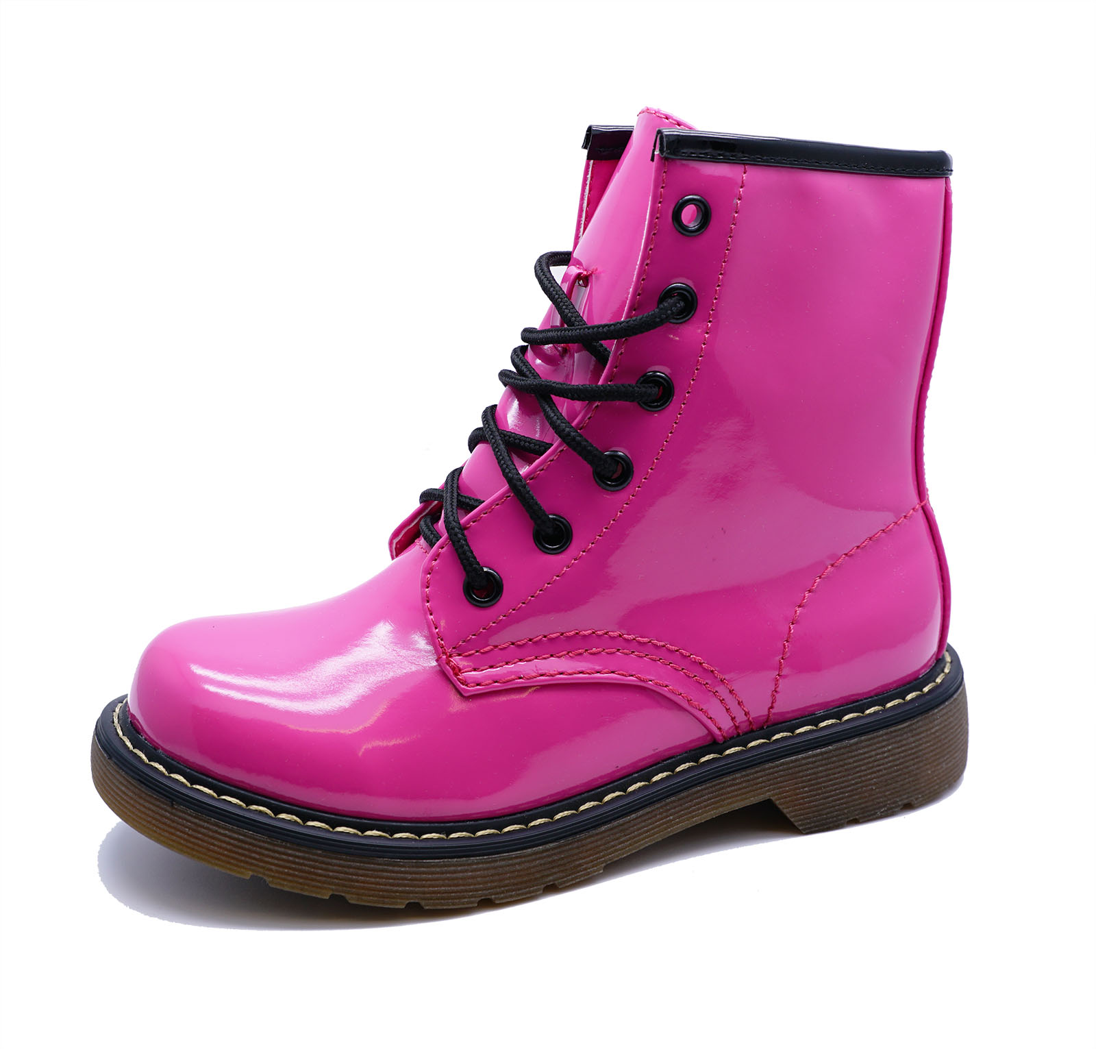 d0ed397ccaf5 GIRLS KIDS CHILDRENS PINK PATENT LACE-UP BOVVER RETRO ANKLE BOOTS ...
