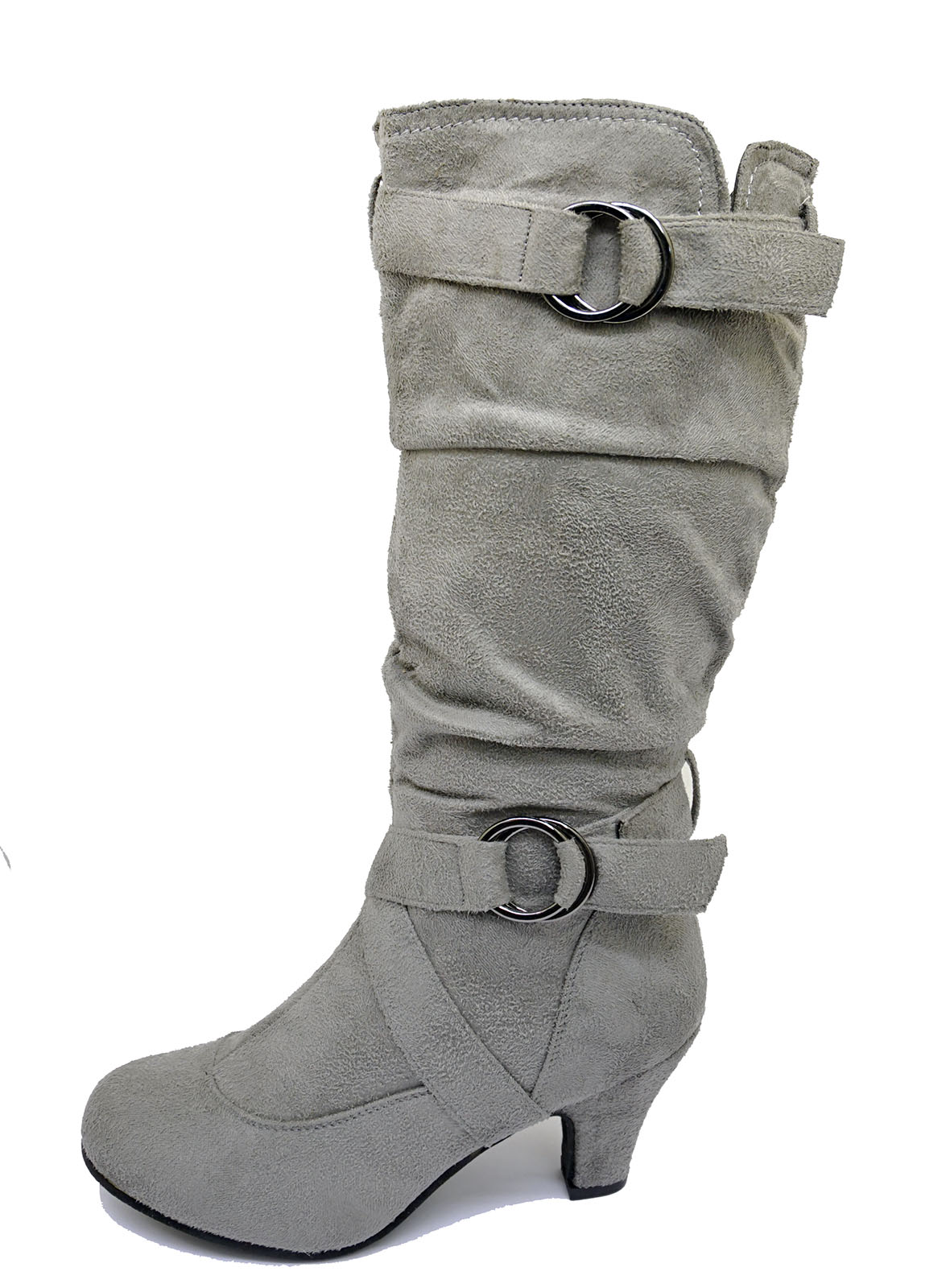 LADIES-GREY-ZIP-UP-BIKER-SLOUCH-RUCHED-TALL-KNEE-CALF-LOW-HEEL-BOOTS-SHOES-4-10 thumbnail 6
