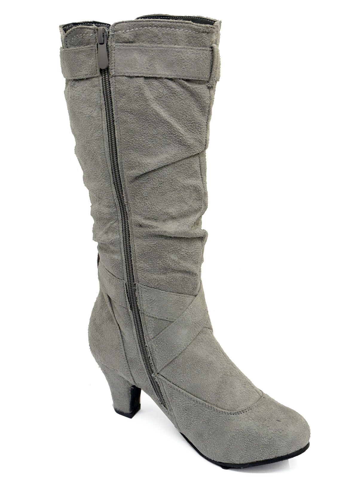 LADIES-GREY-ZIP-UP-BIKER-SLOUCH-RUCHED-TALL-KNEE-CALF-LOW-HEEL-BOOTS-SHOES-4-10 thumbnail 10