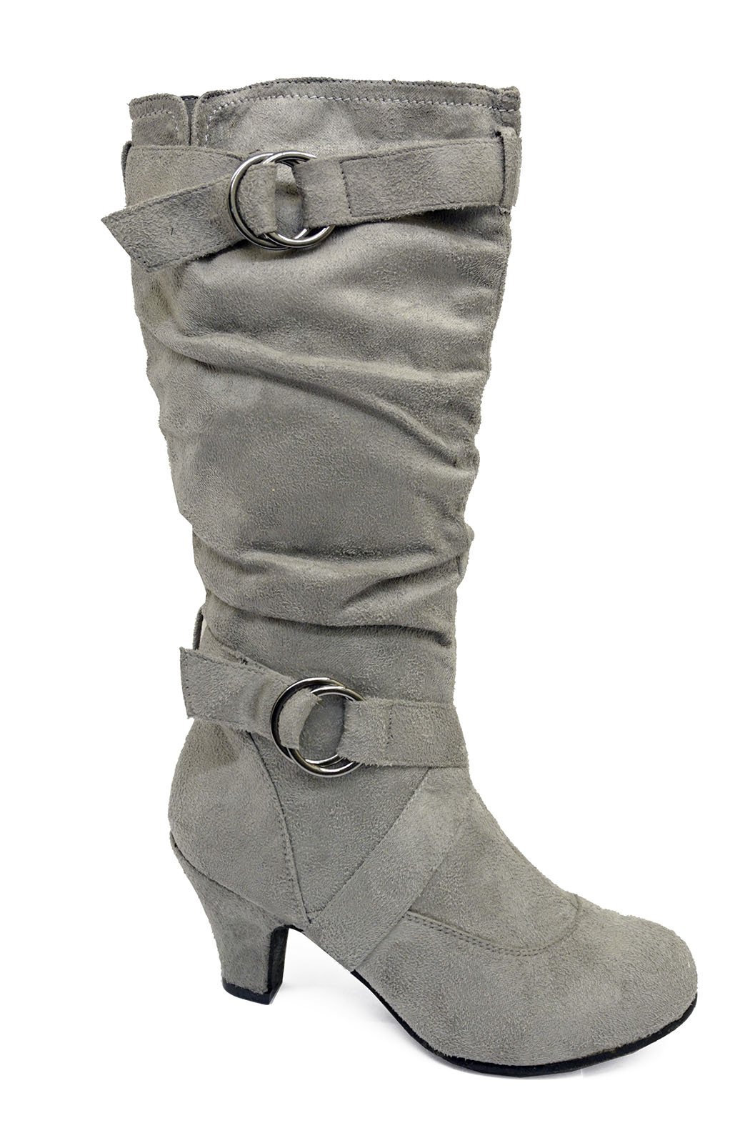 LADIES-GREY-ZIP-UP-BIKER-SLOUCH-RUCHED-TALL-KNEE-CALF-LOW-HEEL-BOOTS-SHOES-4-10 thumbnail 5