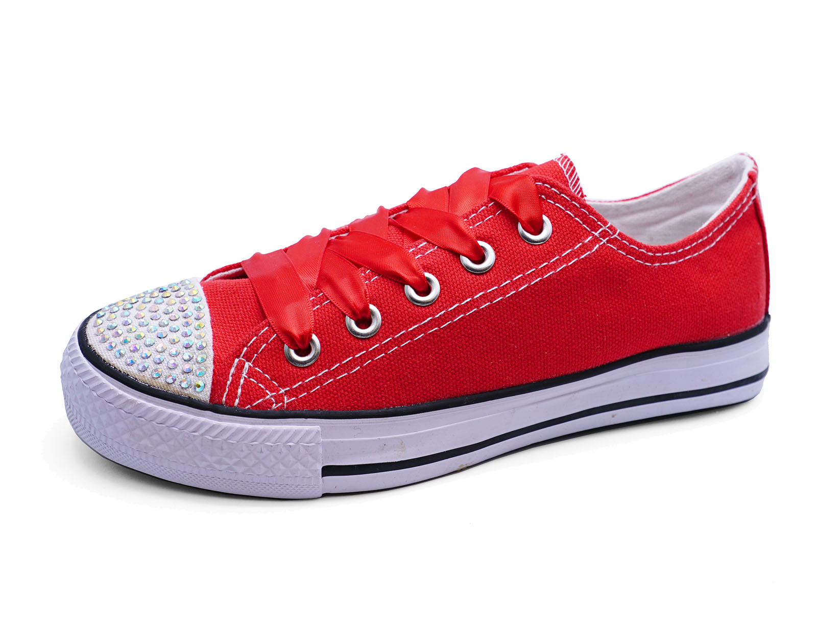 af4bb13962cf GIRLS KIDS CHILDRENS RED CANVAS DIAMANTE LACE-UP PLIMSOLL PUMPS ...