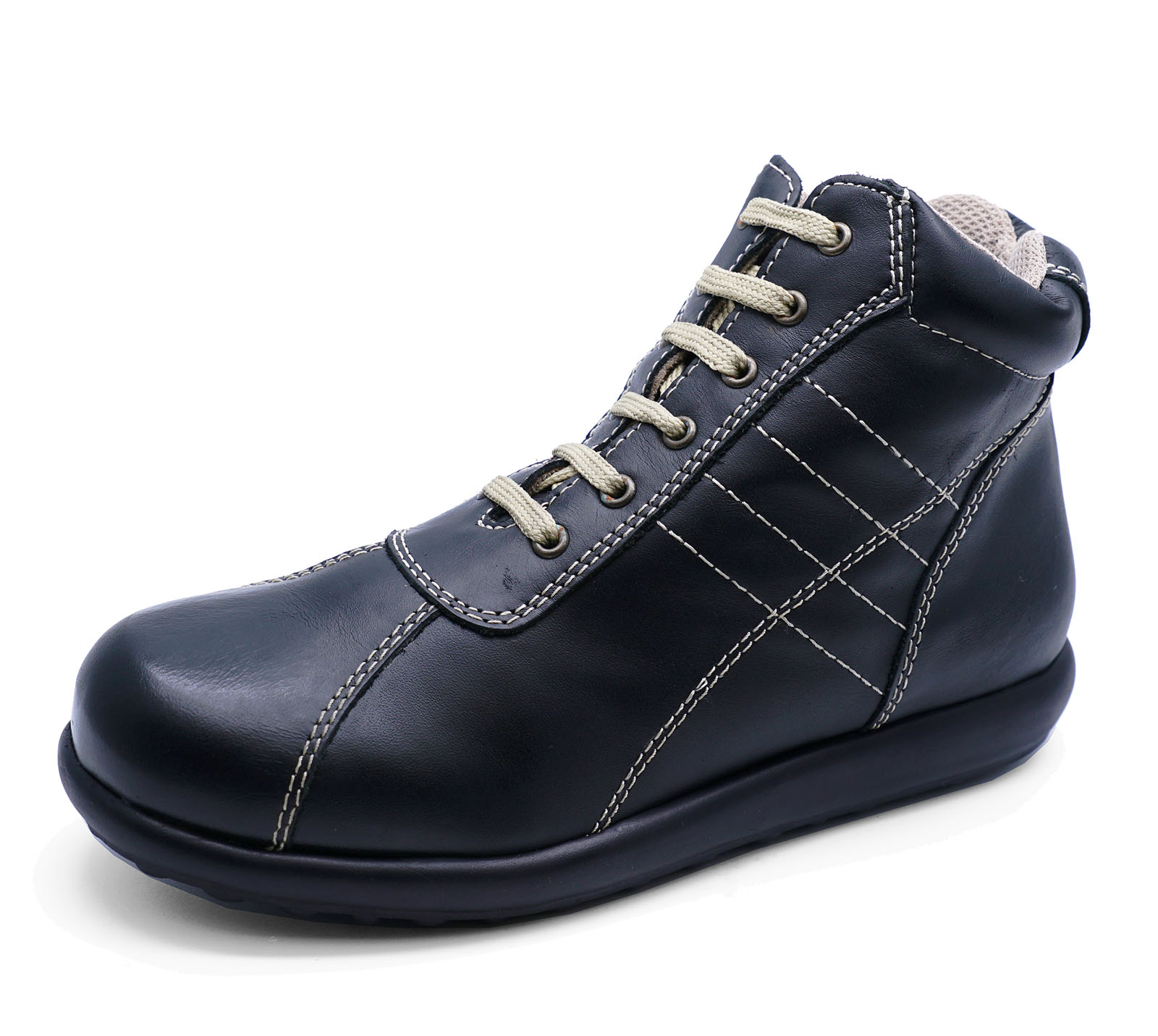 6d5e71b91bc LADIES FLAT BLACK REAL LEATHER LACE-UP WALKING ANKLE HIKING BOOTS ...