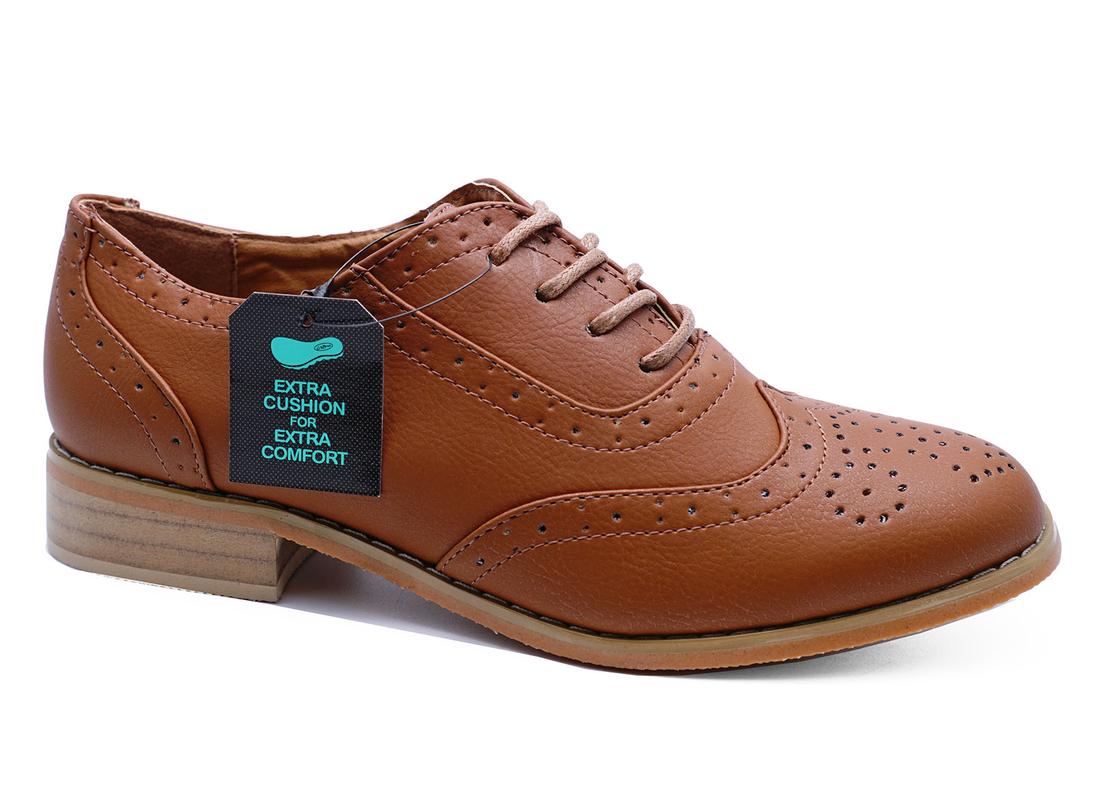 WOMENS TAN BROWN OXFORD BROGUES LACE-UP WORK CASUAL SMART ...
