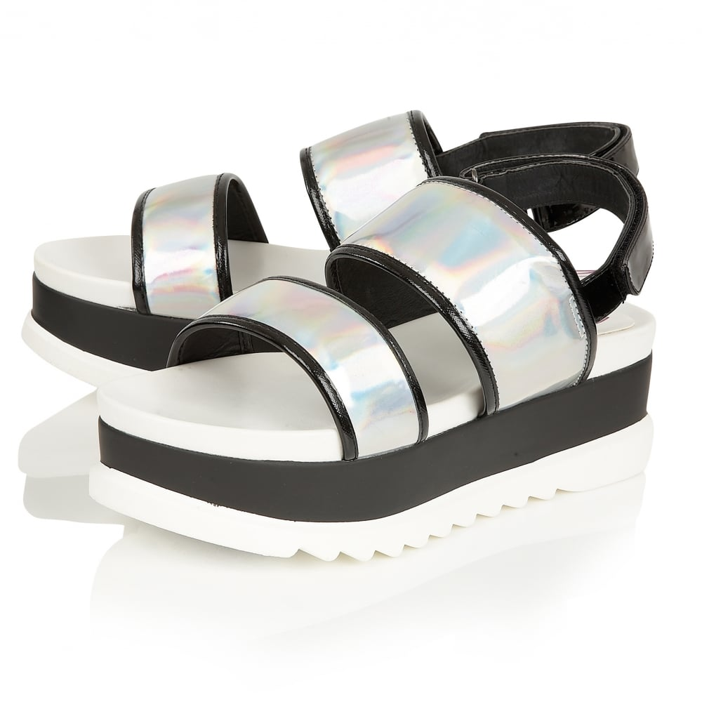 6d3b5f5a086 Details about LADIES DOLCIS ZENIA SILVER FLAT-FORM PLATFORM CHUNKY SANDALS  WEDGES SHOES 3-8