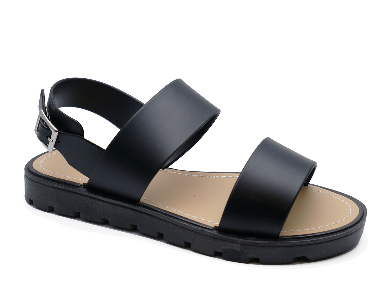 47a8f8bbb3a Sentinel LADIES BLACK FLAT COMFY WALKING GLADIATOR CASUAL SANDALS SHOES  PUMPS SIZES 3-8